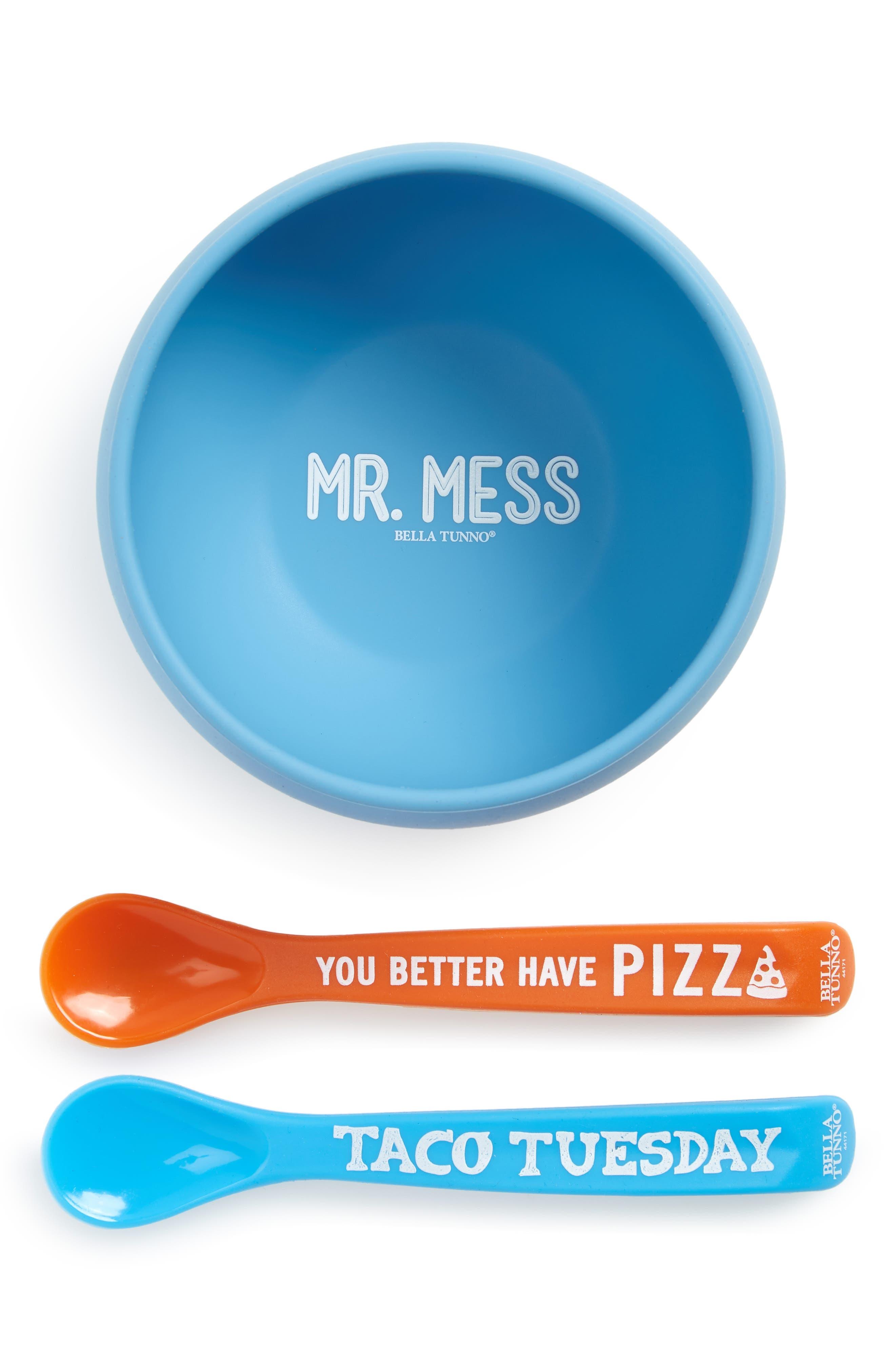 Infant Boys Bella Tunno Mr Mess Wonder Bowl  Spoons Set