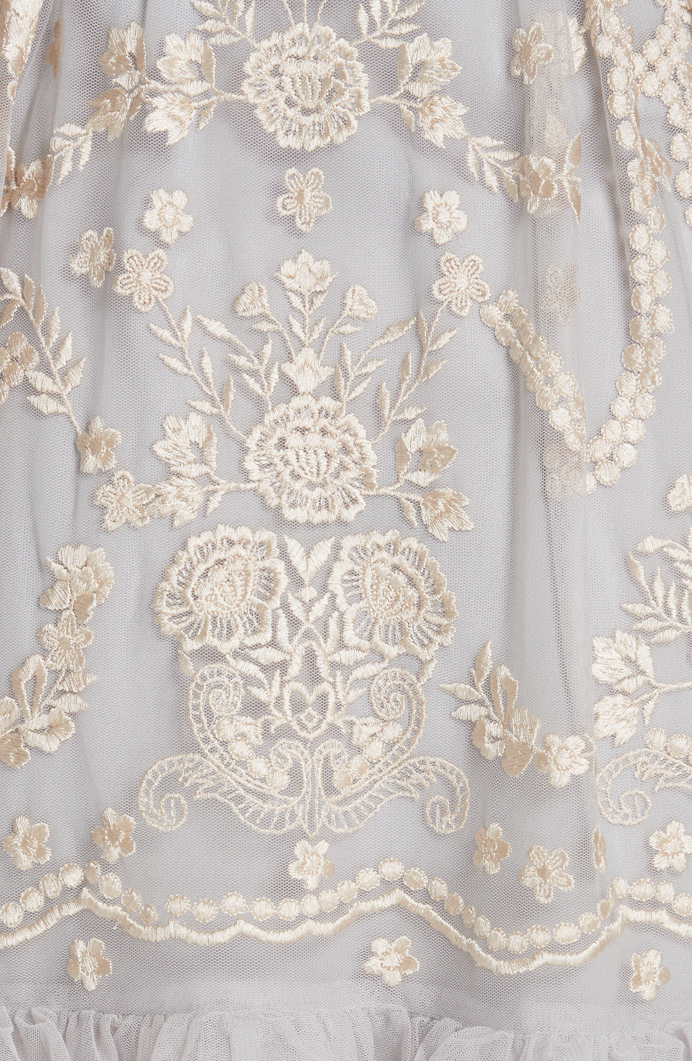 Embroidered Tulle A-Line Dress,                             Alternate thumbnail 5, color,                             VINTAGE BLUE