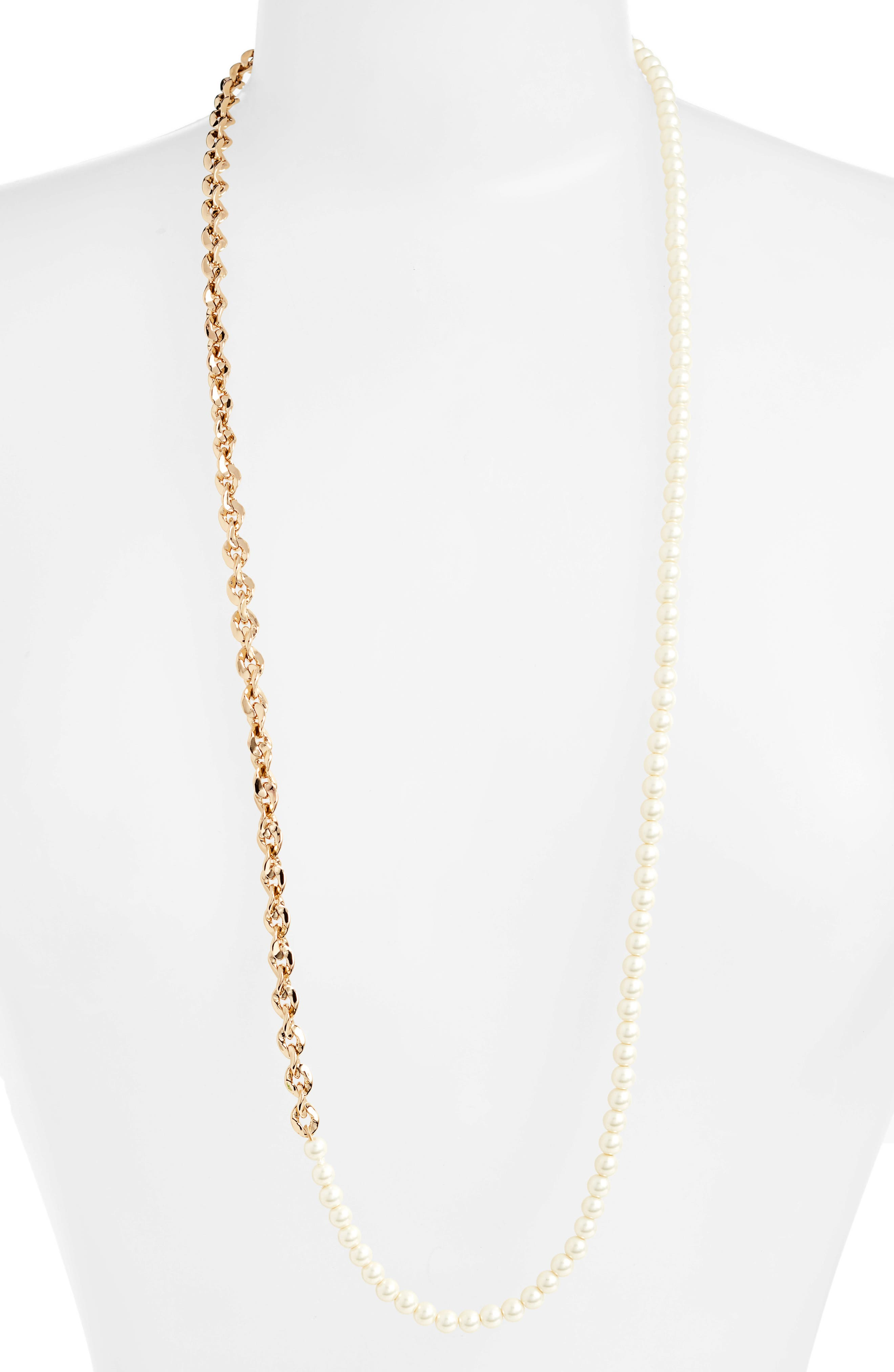 Imitation Pearl & Chain Necklace, Main, color, GOLD/ PEARL