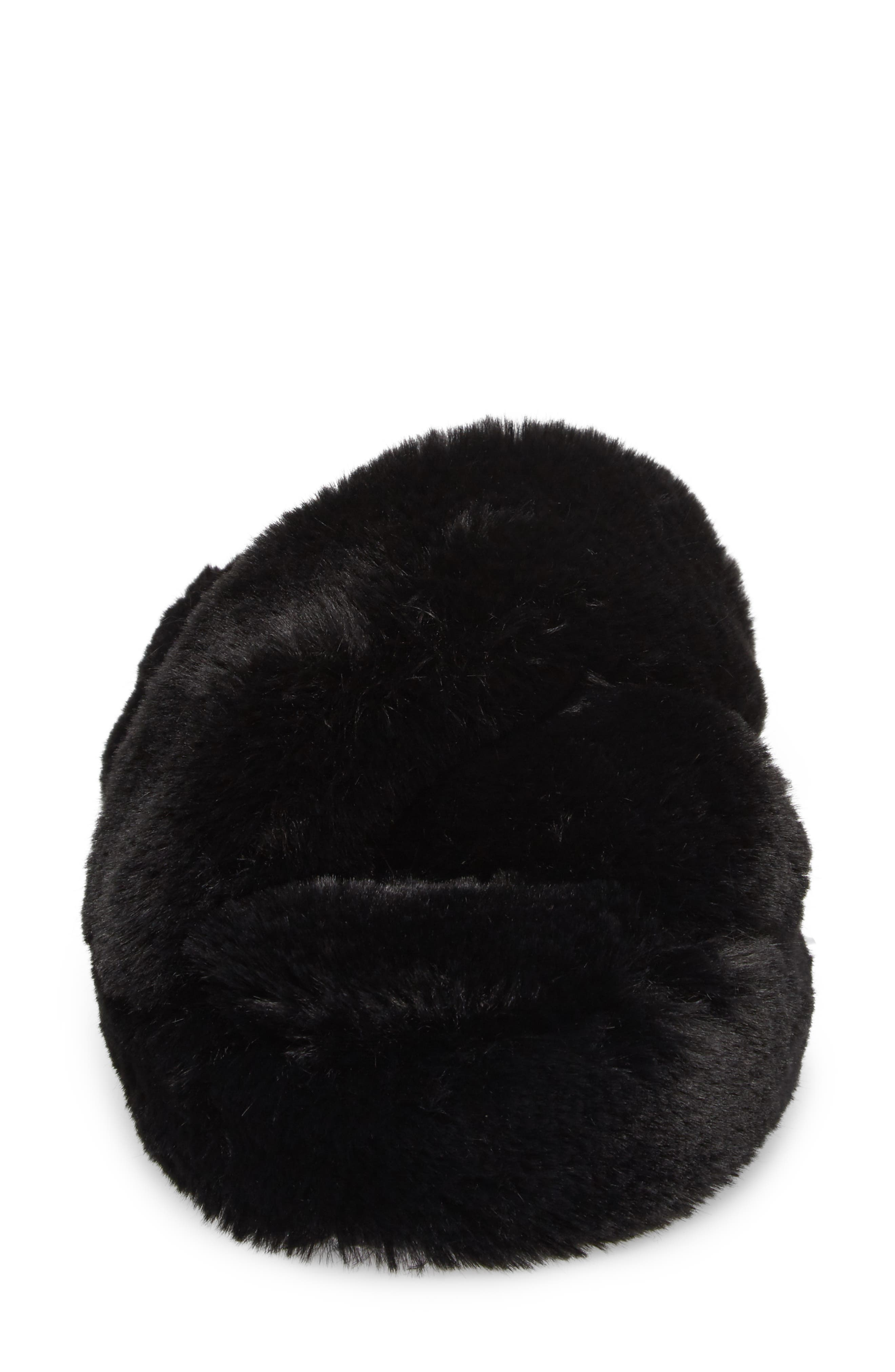 Comfy Faux Fur Slipper,                             Alternate thumbnail 4, color,                             001
