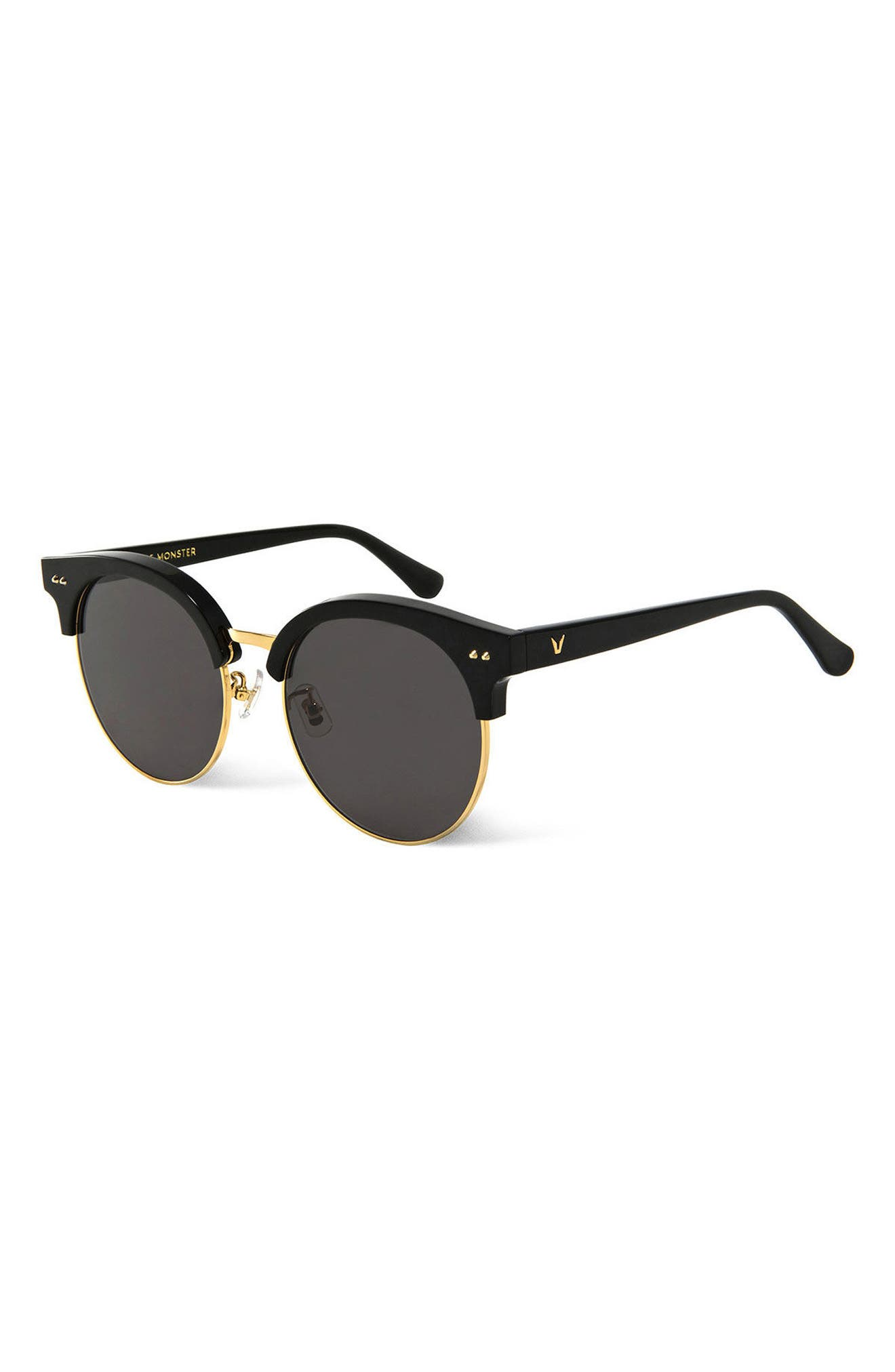 Moon Cut 55mm Sunglasses,                             Alternate thumbnail 3, color,                             001
