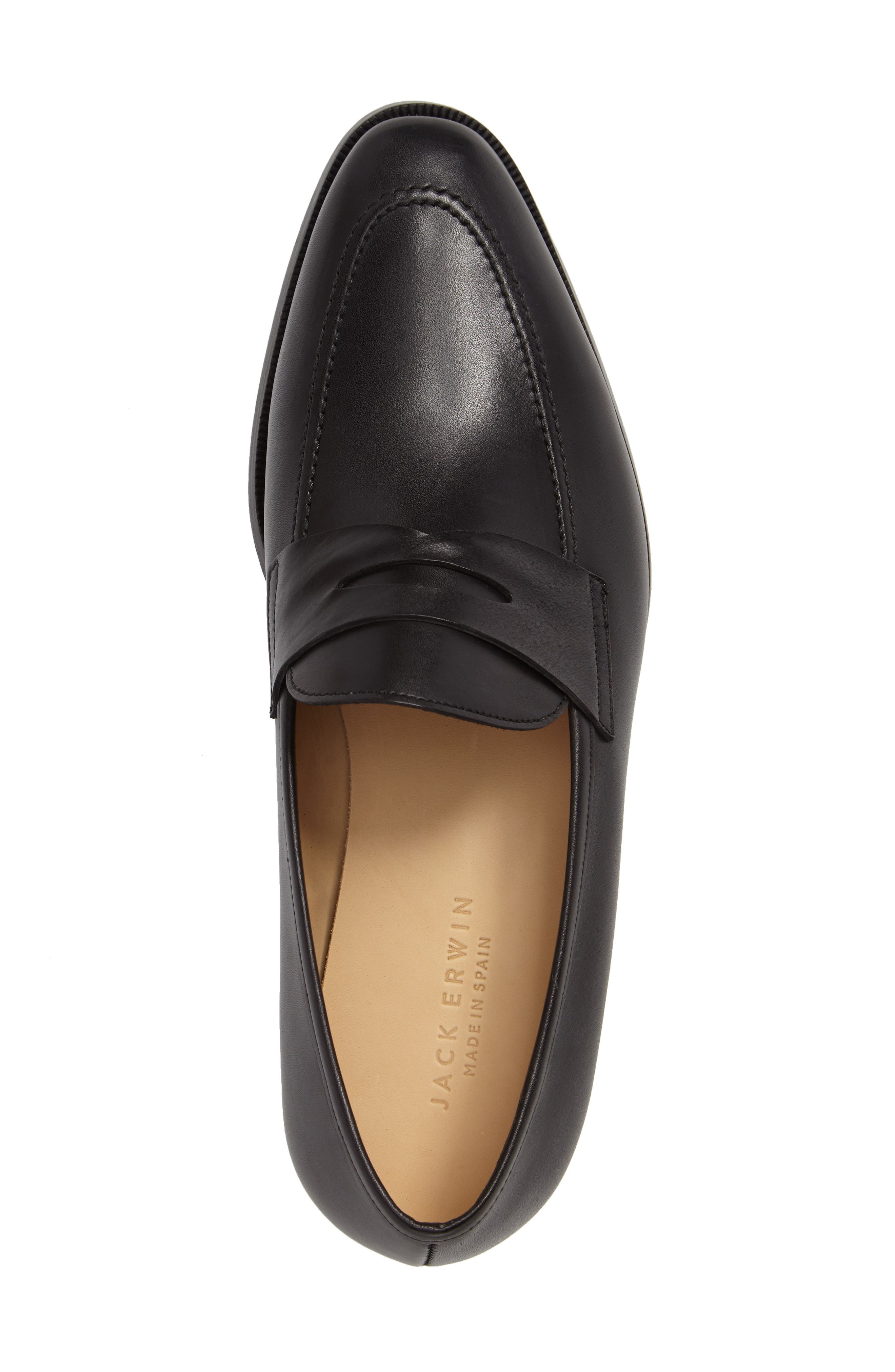 Abe Penny Loafer,                             Alternate thumbnail 3, color,                             BLACK LEATHER