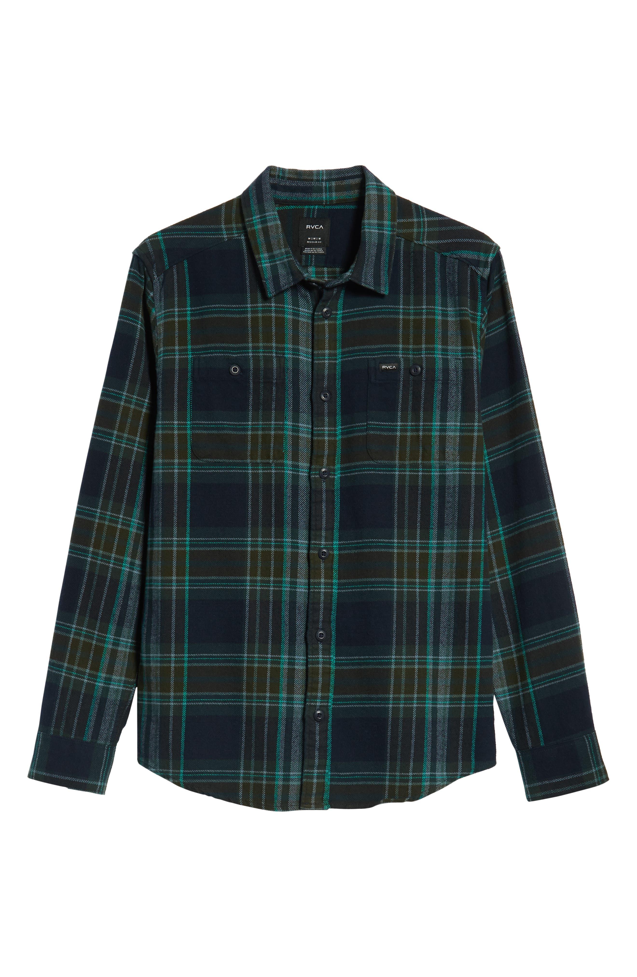 Ludlow Plaid Flannel Shirt,                             Alternate thumbnail 5, color,                             NEW NAVY