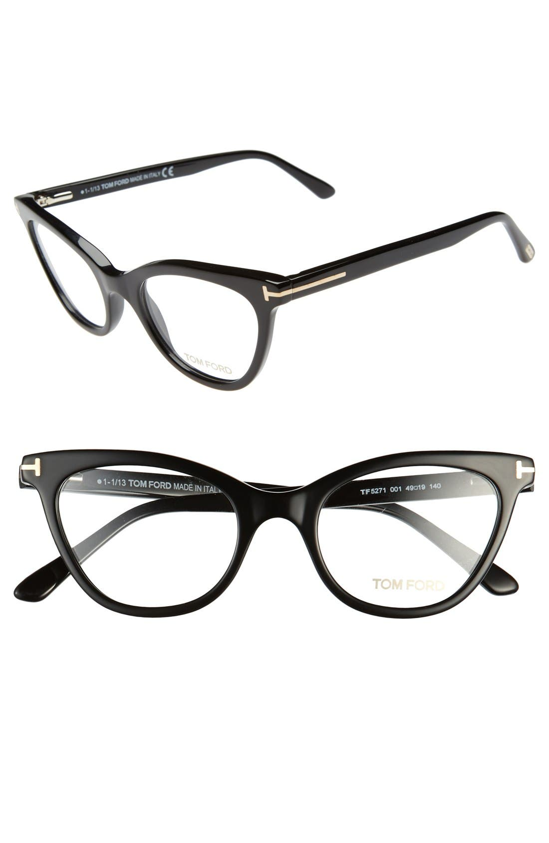 TOM FORD,                             49mm Cat Eye Optical Glasses,                             Main thumbnail 1, color,                             001