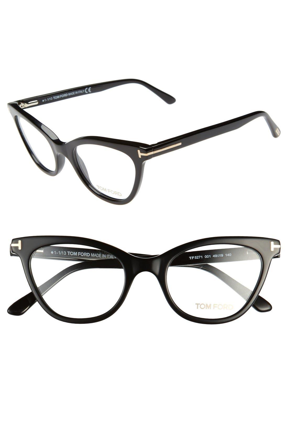 TOM FORD 49mm Cat Eye Optical Glasses, Main, color, 001