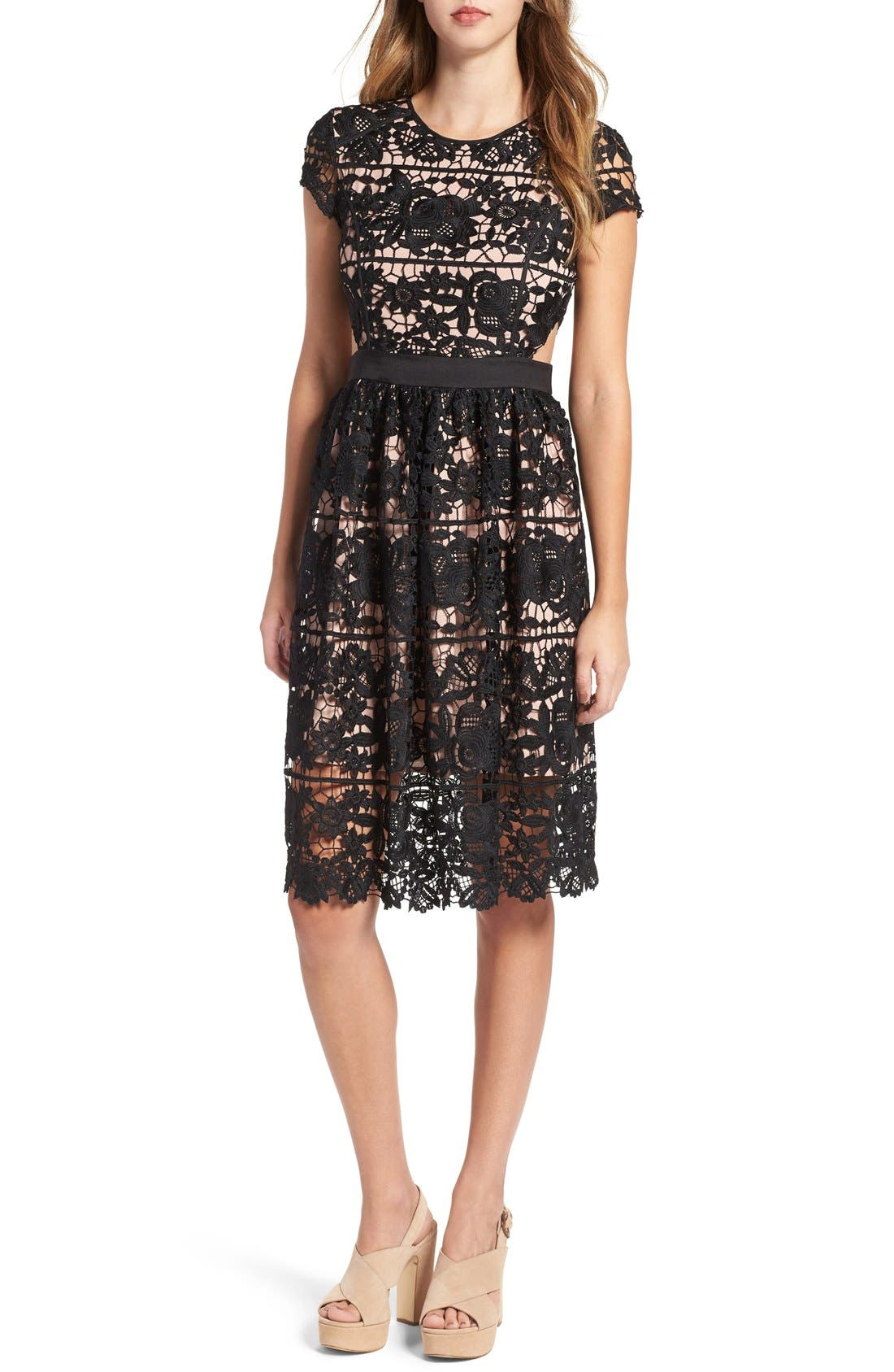'Rodan' Lace Fit & Flare Dress, Main, color, 001