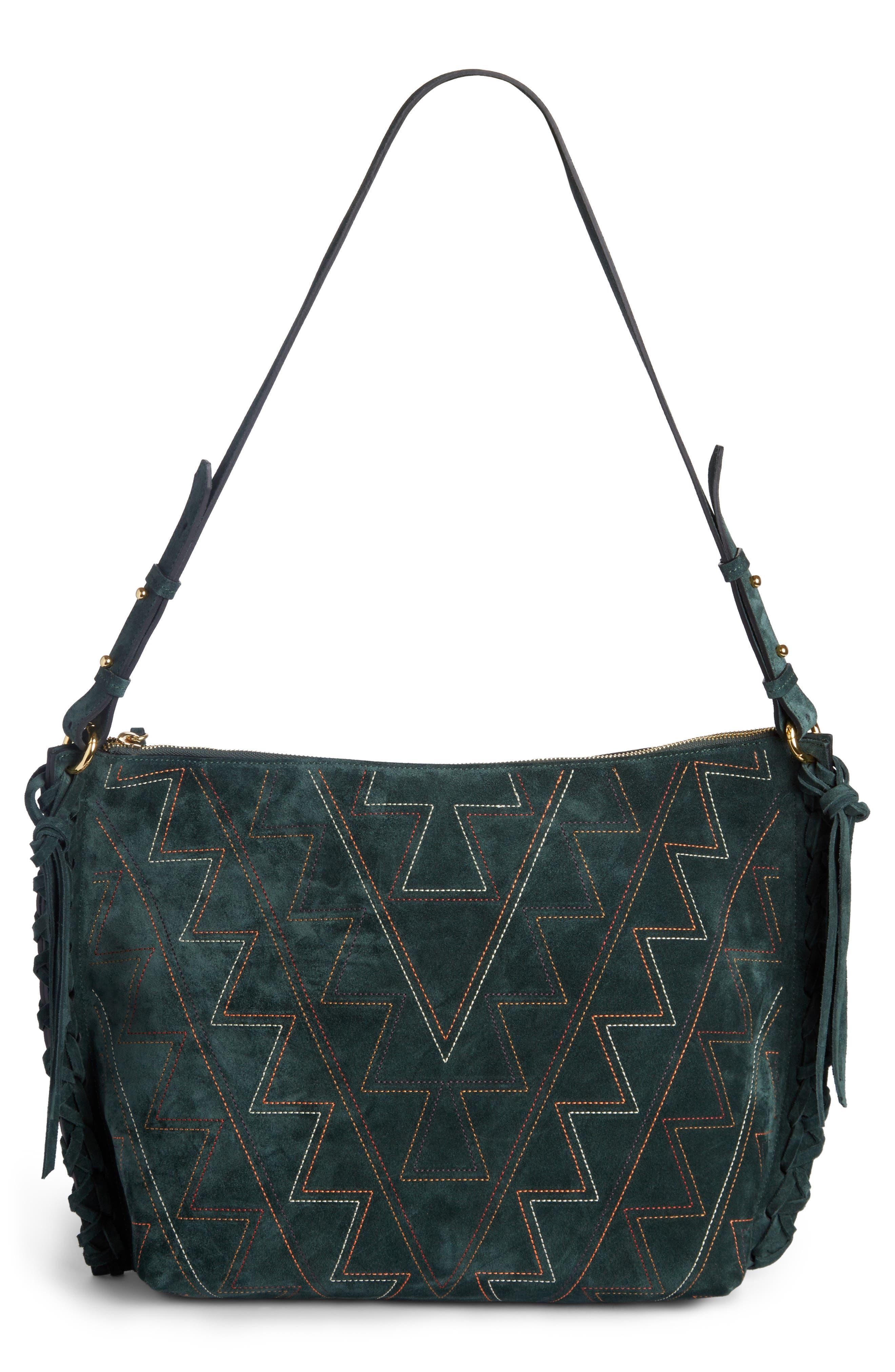Osun Stitched Suede Shoulder Bag,                             Alternate thumbnail 2, color,                             301
