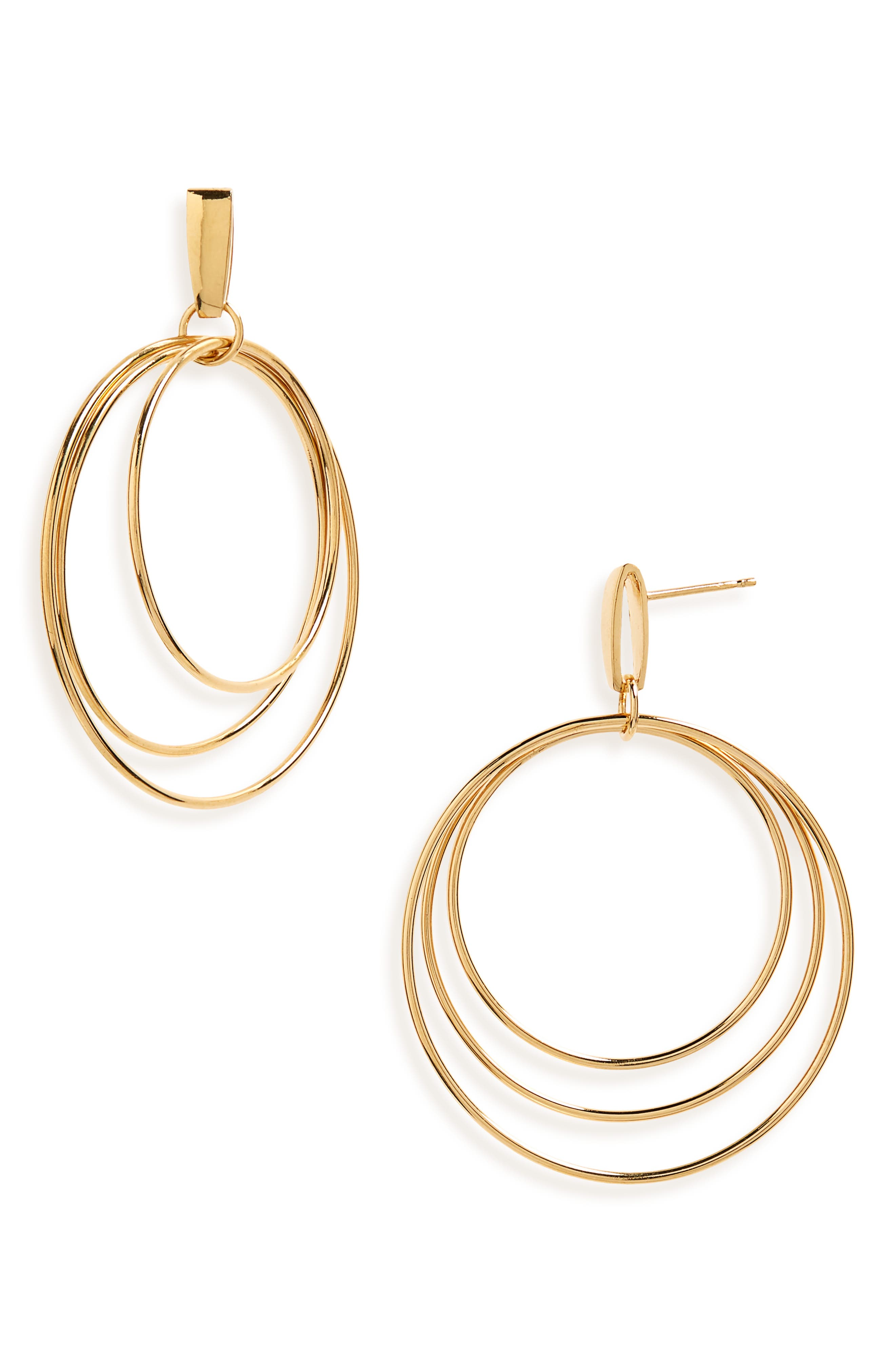 Mini Christy Vermeil Hoop Earrings,                             Main thumbnail 1, color,                             GOLD PLATED STERLING SILVER