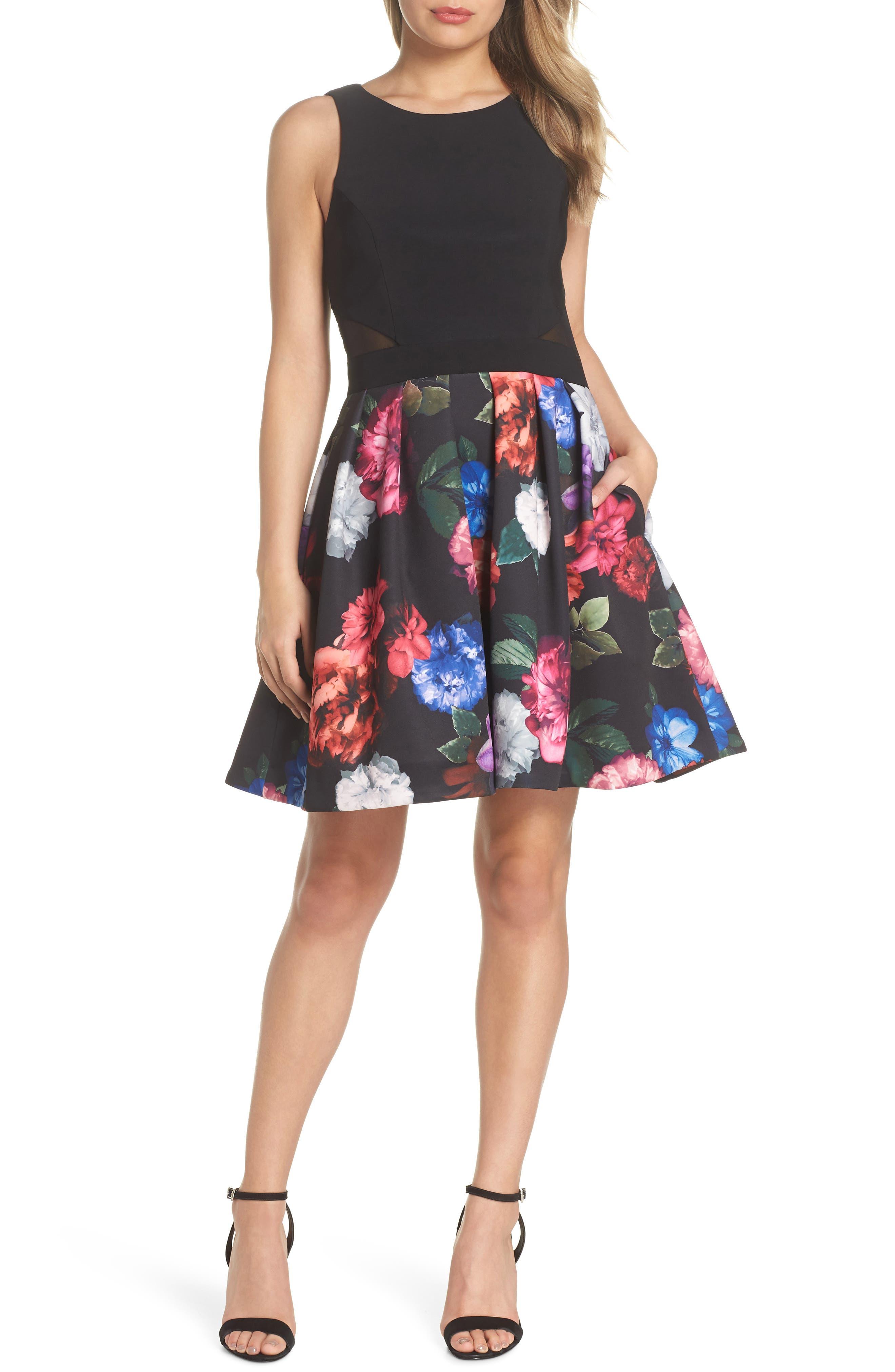 Floral Print Fit & Flare Dress,                             Main thumbnail 1, color,                             BLACK/ PURPLE