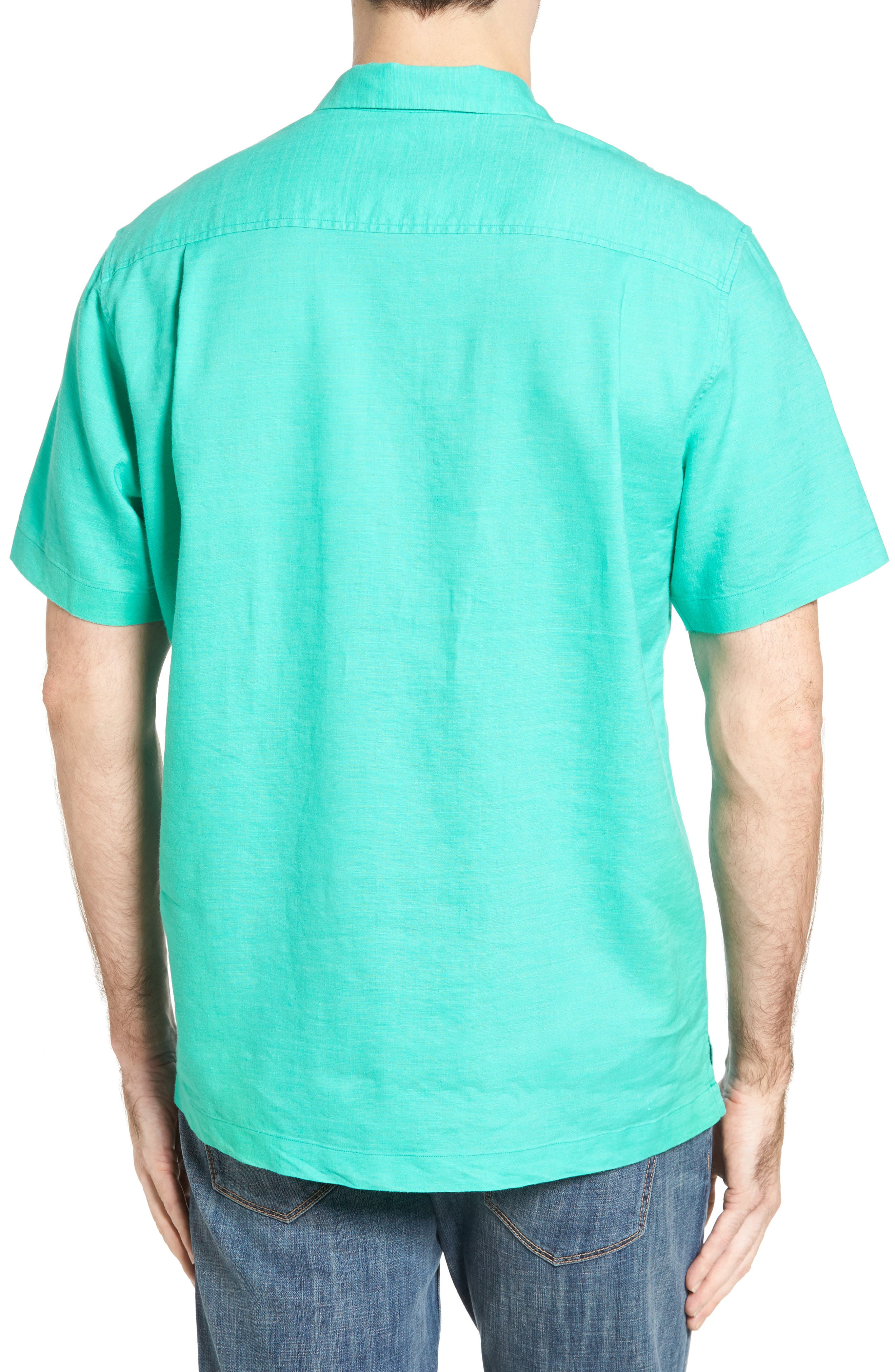 Monaco Tides Standard Fit Linen Blend Camp Shirt,                             Alternate thumbnail 9, color,