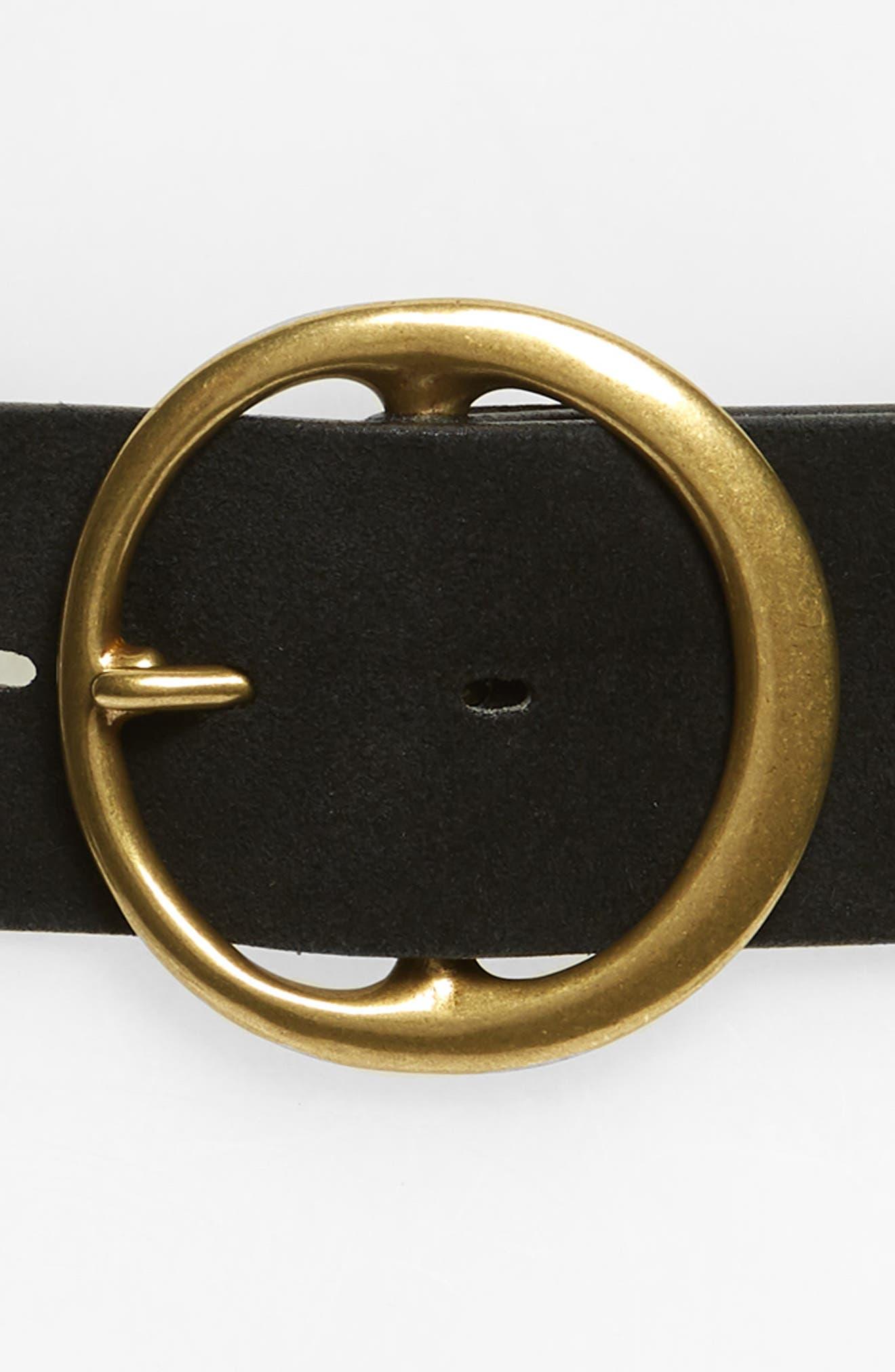 Round Buckle Suede Belt,                             Alternate thumbnail 3, color,                             BLACK