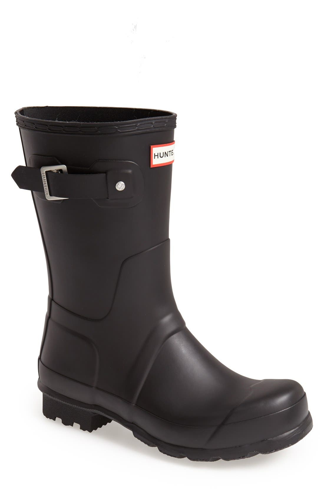 HUNTER,                             Original Short Waterproof Rain Boot,                             Main thumbnail 1, color,                             BLACK