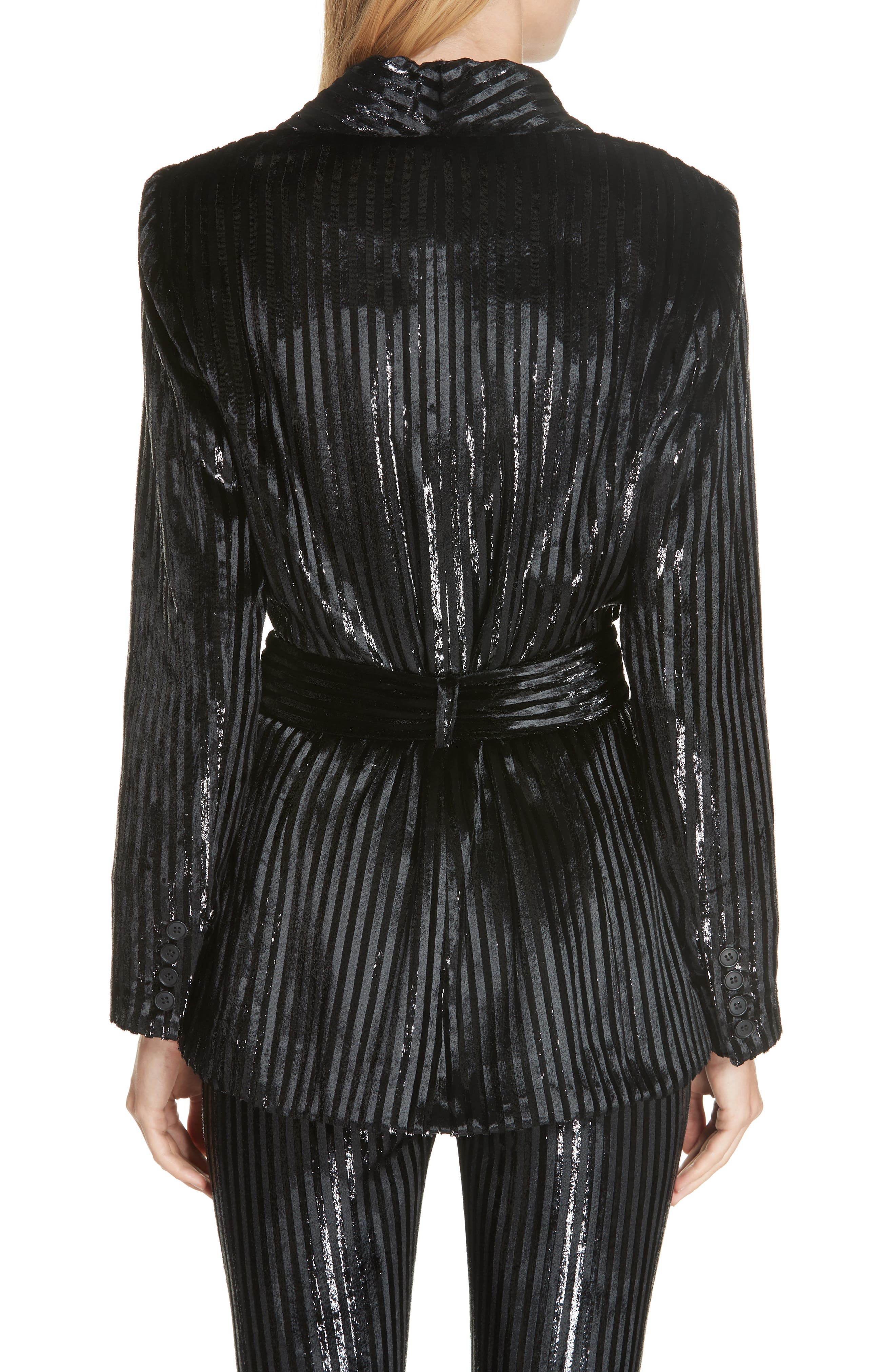 Velvet Stripe Tie Waist Blazer,                             Alternate thumbnail 2, color,                             BLACK LAME STRIPE