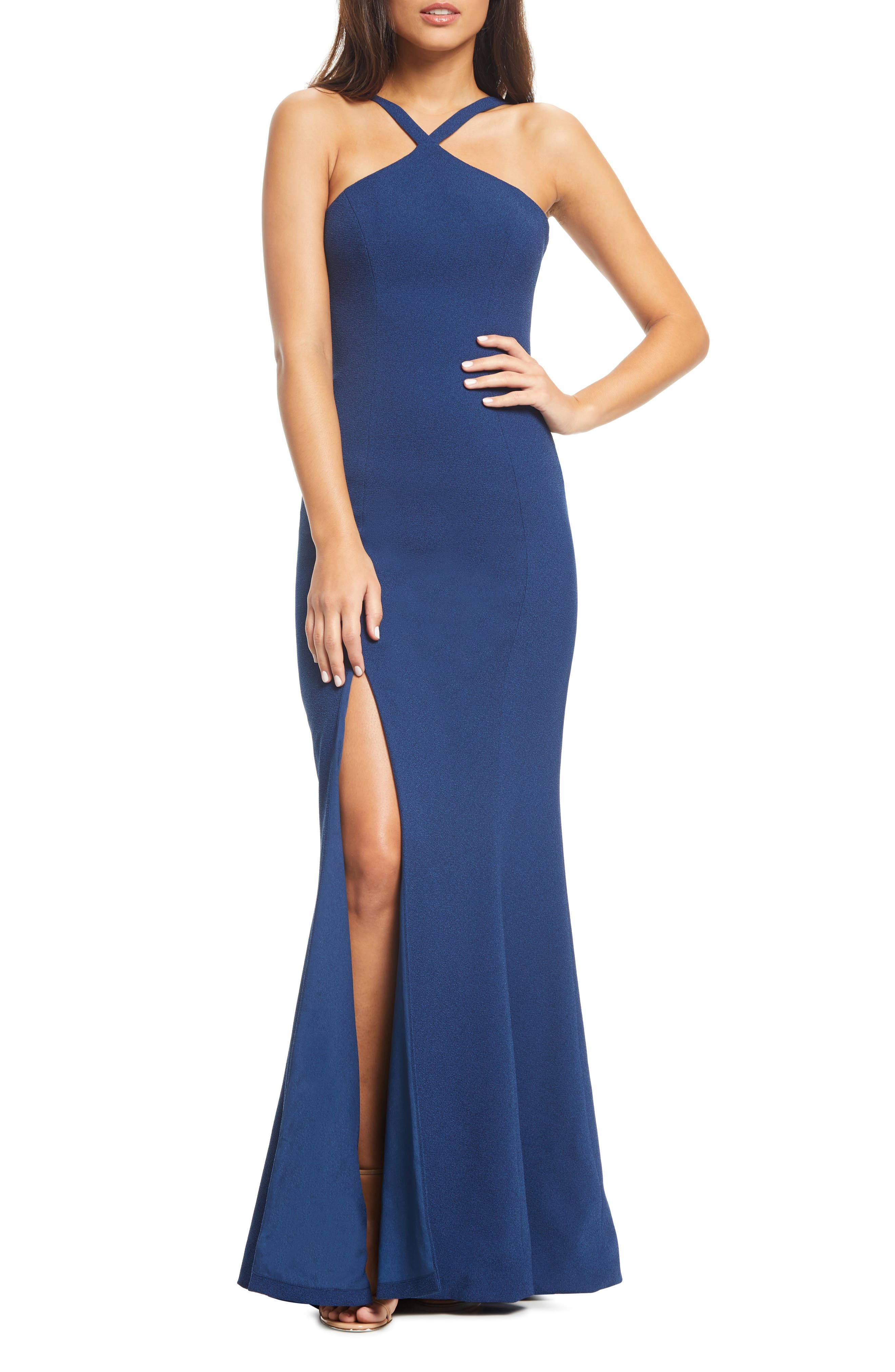 DRESS THE POPULATION,                             Brianna Halter Style Trumpet Gown,                             Main thumbnail 1, color,                             PACIFIC