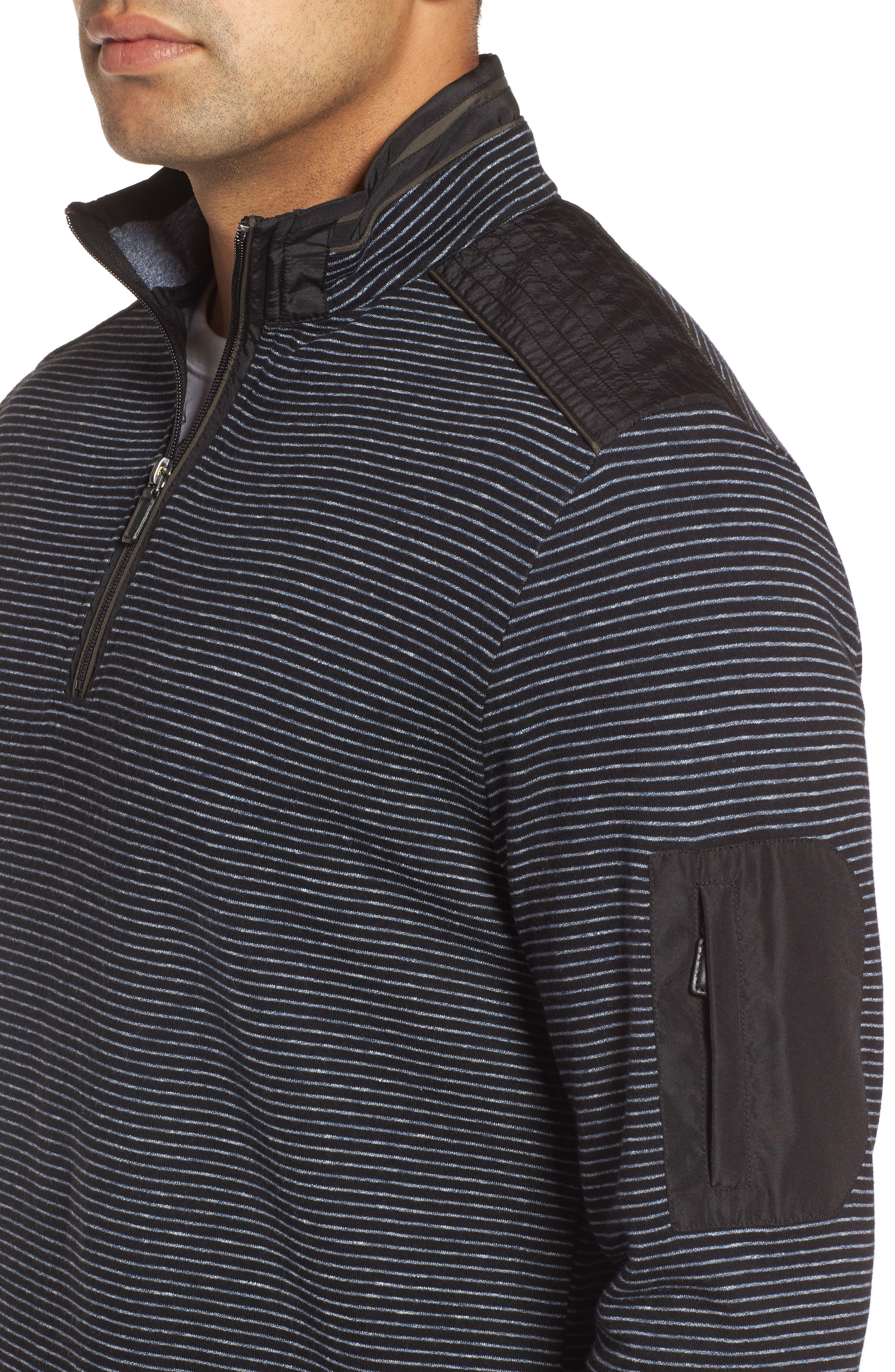 Classic Fit Pinstripe Quarter Zip Pullover,                             Alternate thumbnail 4, color,                             001