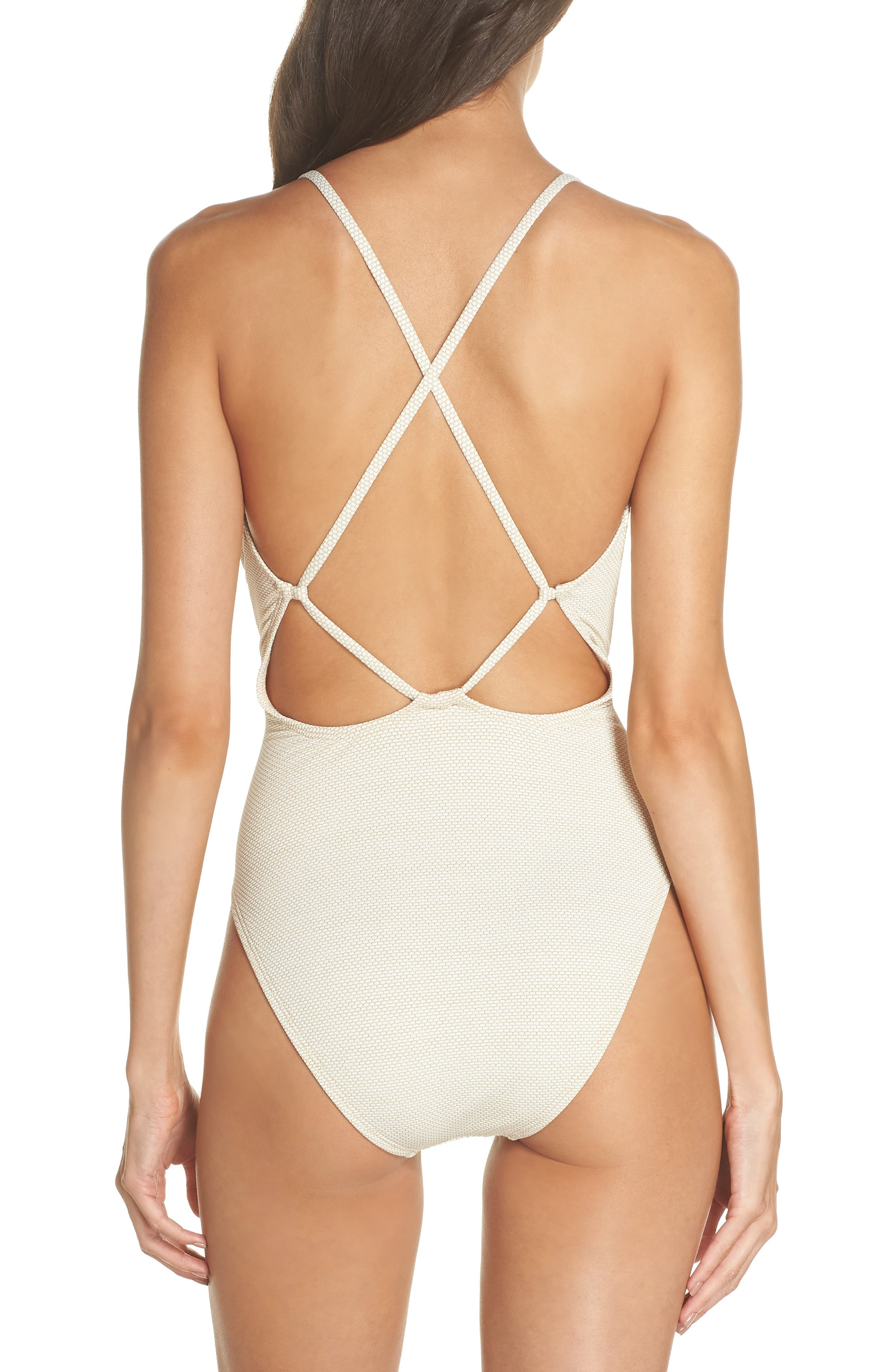 South Beach One-Piece Swimsuit,                             Alternate thumbnail 2, color,                             IVORY EGRET