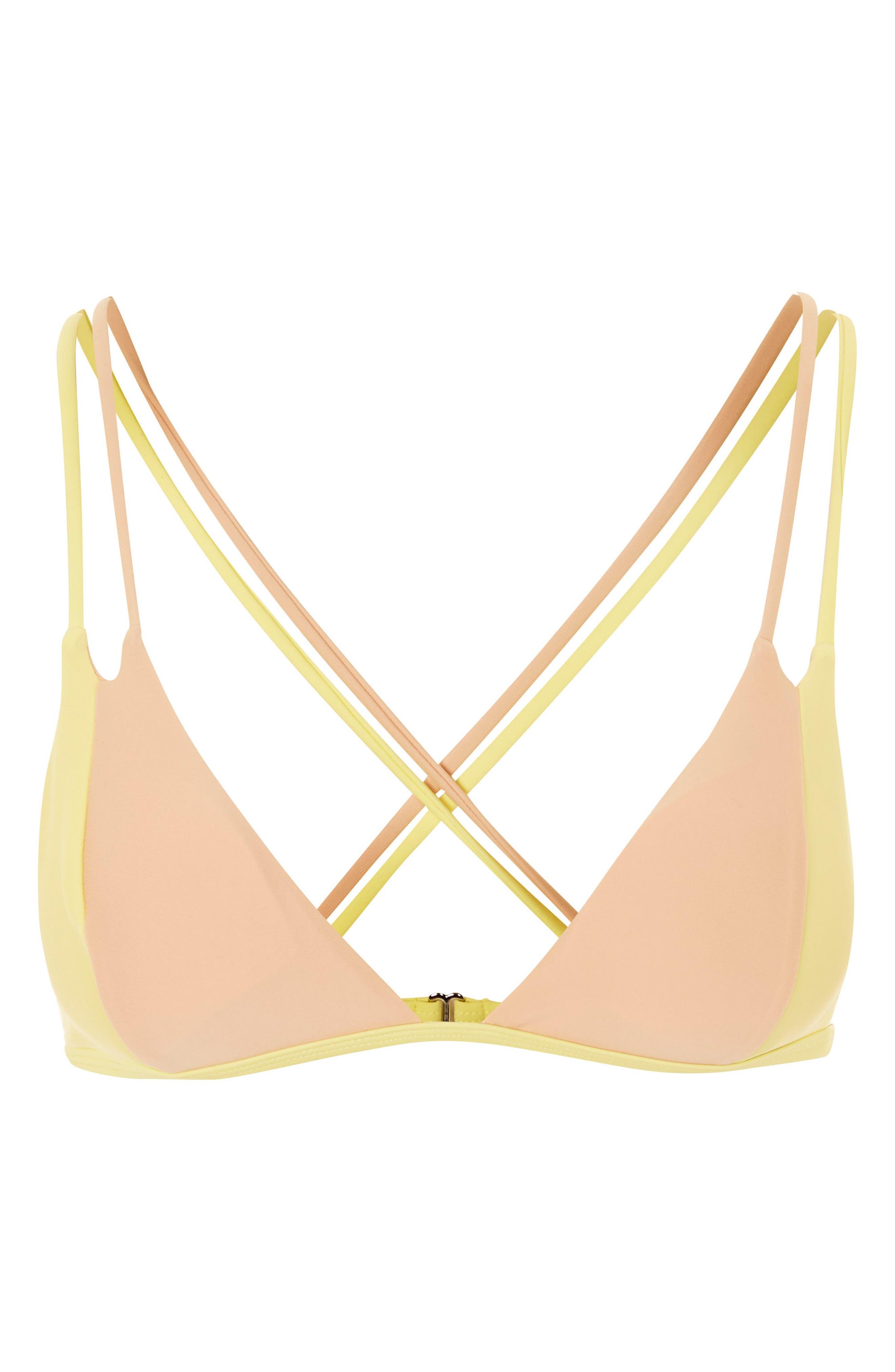 Colorblock Triangle Bikini Top,                             Alternate thumbnail 3, color,                             700