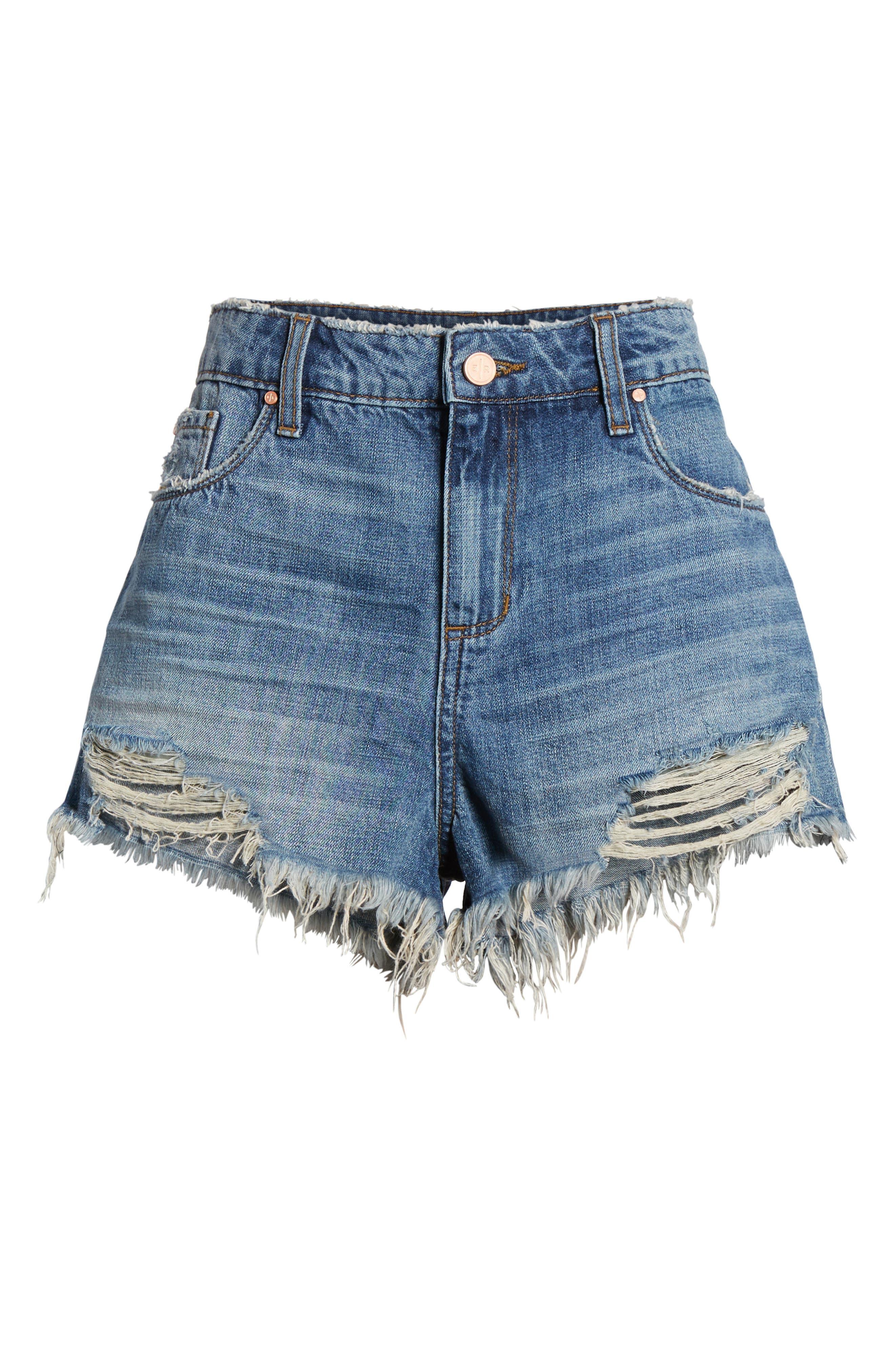 BP.,                             High Waist Frayed Hem Denim Shorts,                             Alternate thumbnail 7, color,                             420