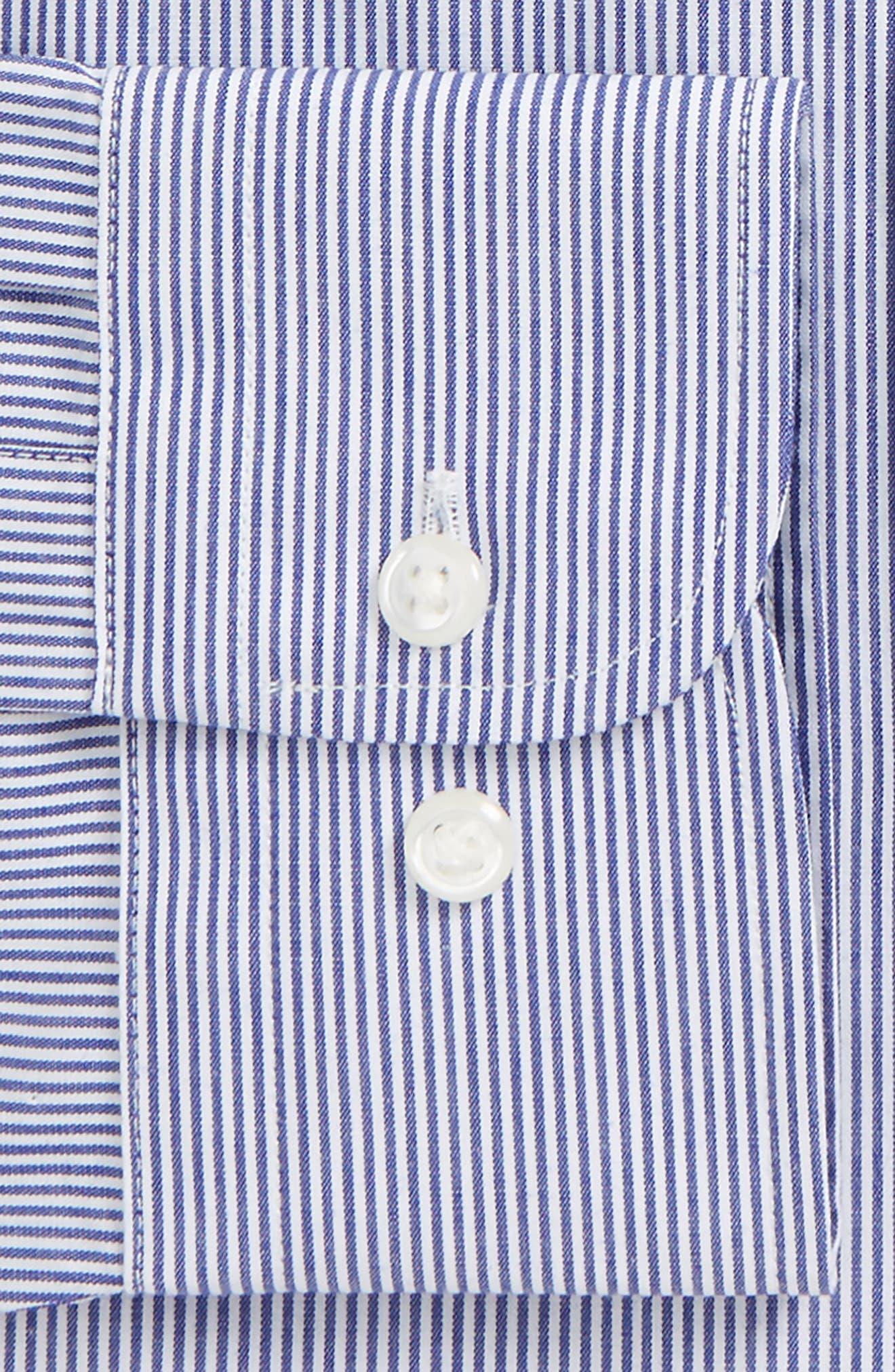 Trim Fit Non-Iron Stripe Dress Shirt,                             Alternate thumbnail 32, color,