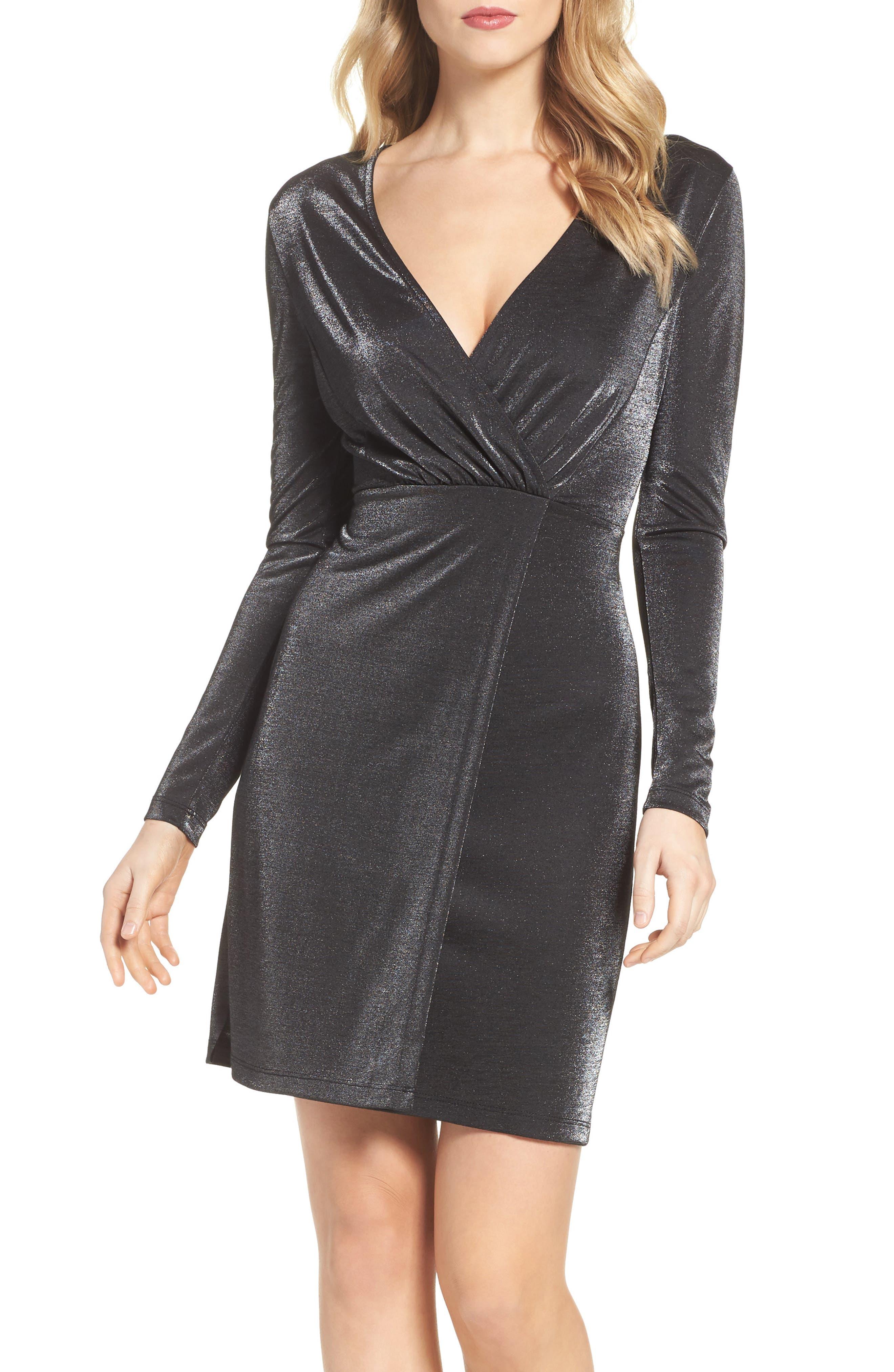 Arlene Faux Wrap Dress,                             Alternate thumbnail 5, color,                             007