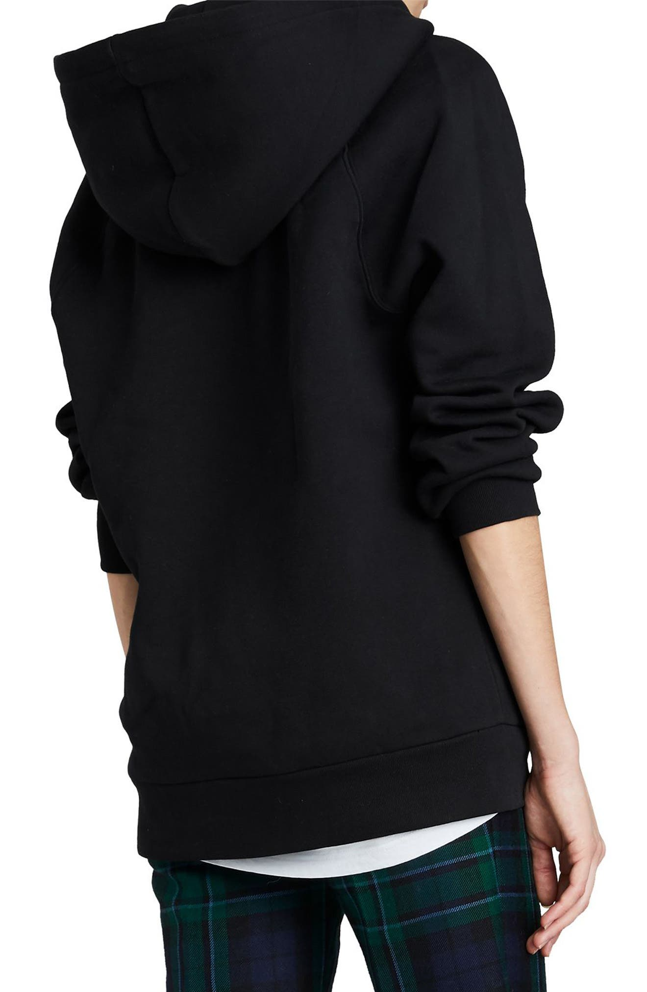 Krayford Embroidered Cotton Blend Hoodie,                             Alternate thumbnail 4, color,                             BLACK