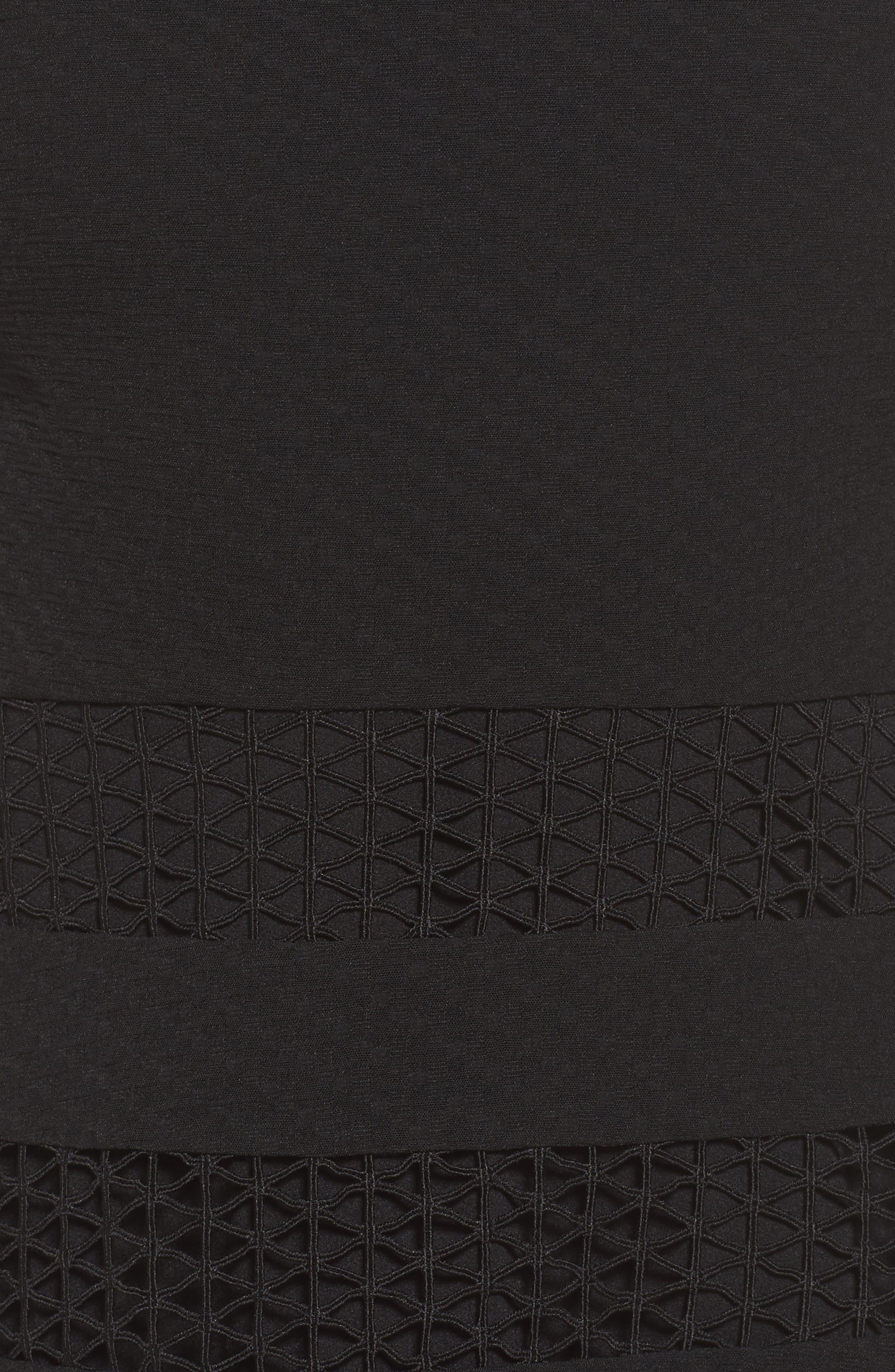 Mixed Media Fit & Flare Dress,                             Alternate thumbnail 6, color,                             BLACK