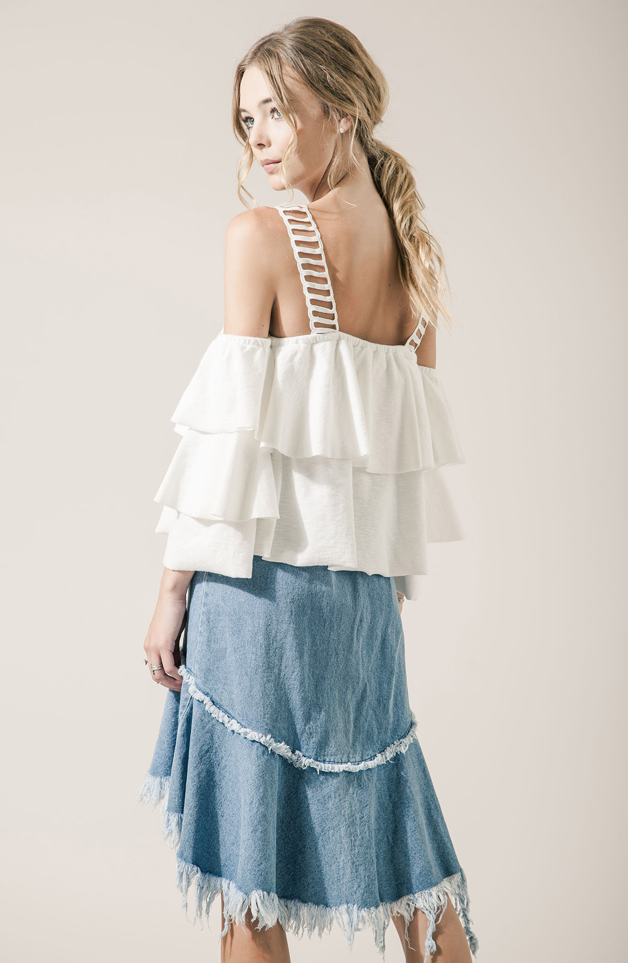 Lace & Ruffle Off the Shoulder Top,                             Alternate thumbnail 6, color,                             100