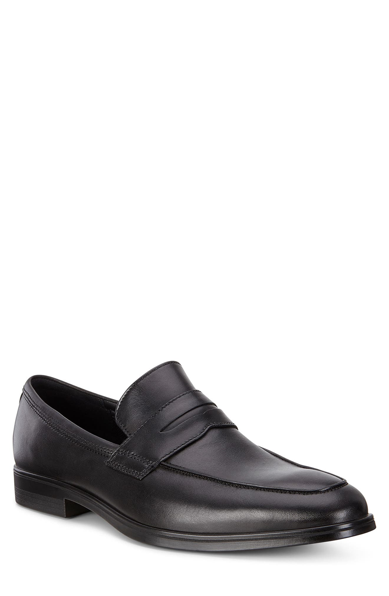Melbourne Penny Loafer,                             Main thumbnail 1, color,                             BLACK LEATHER