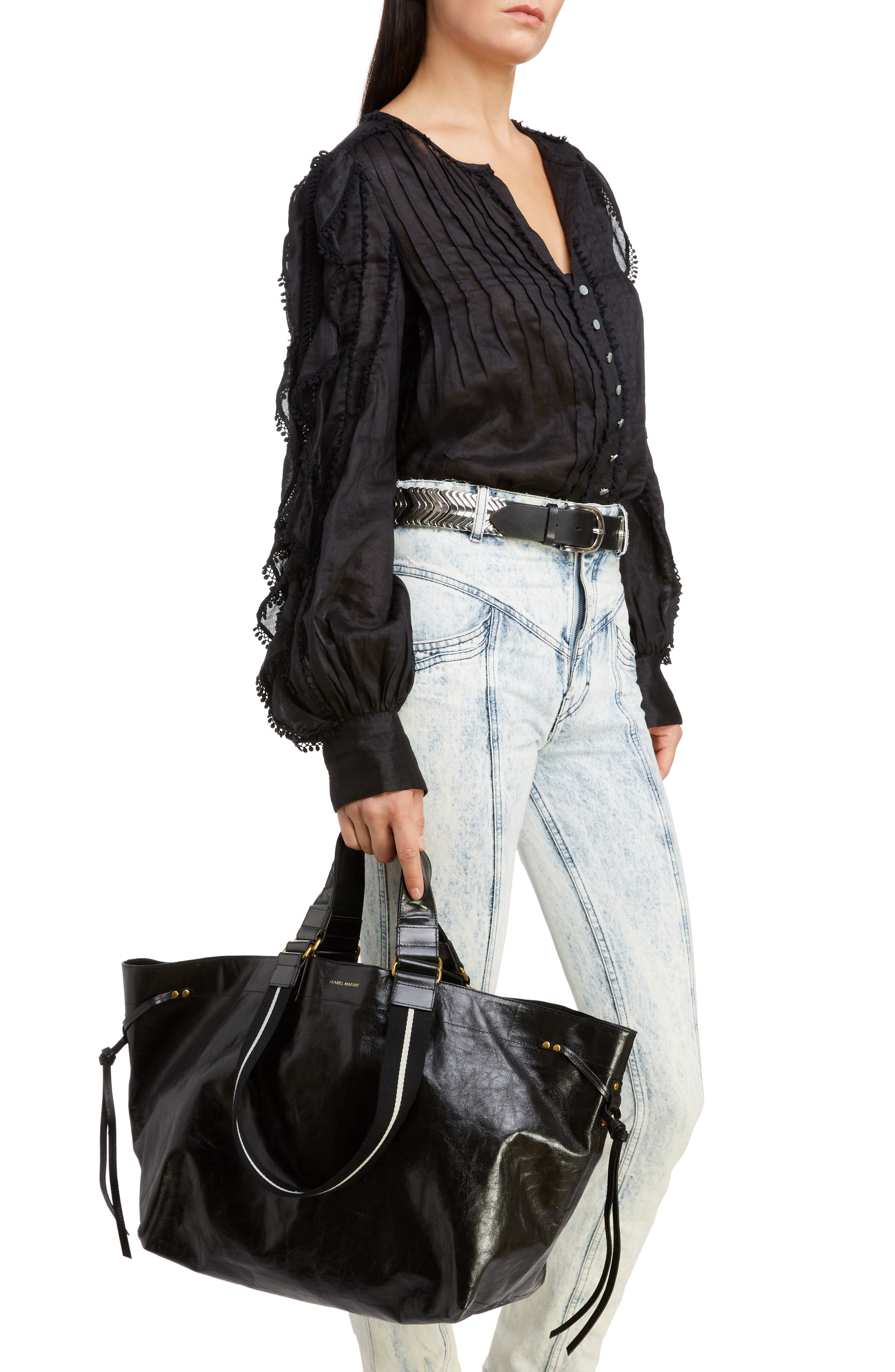 Wardy New Leather Shopper,                             Alternate thumbnail 2, color,                             BLACK