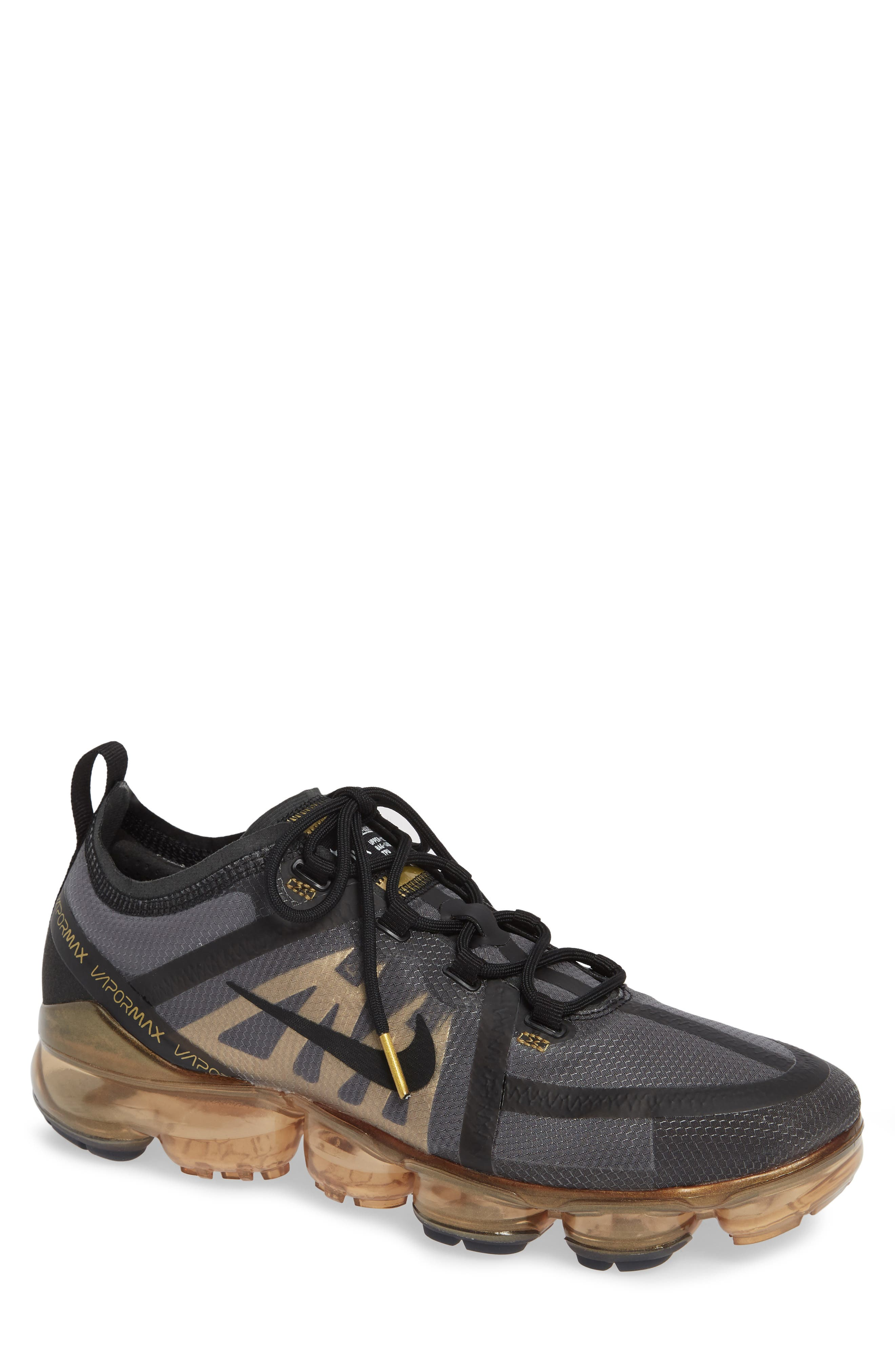 NIKE,                             Air VaporMax 2019 Running Shoe,                             Main thumbnail 1, color,                             BLACK/ METALLIC GOLD