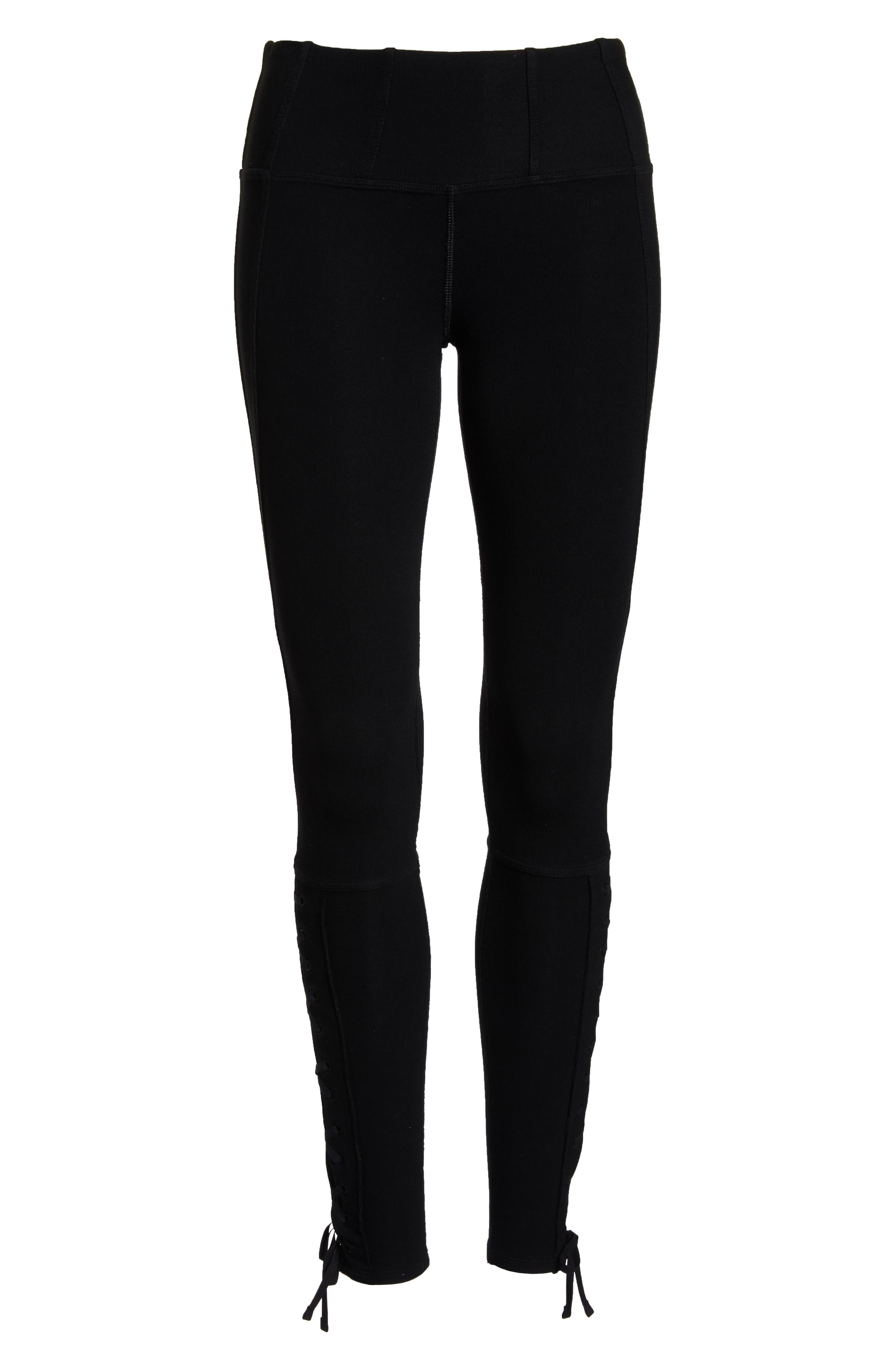 FP Movement Pixi Lace-Up Leggings,                             Alternate thumbnail 7, color,                             BLACK