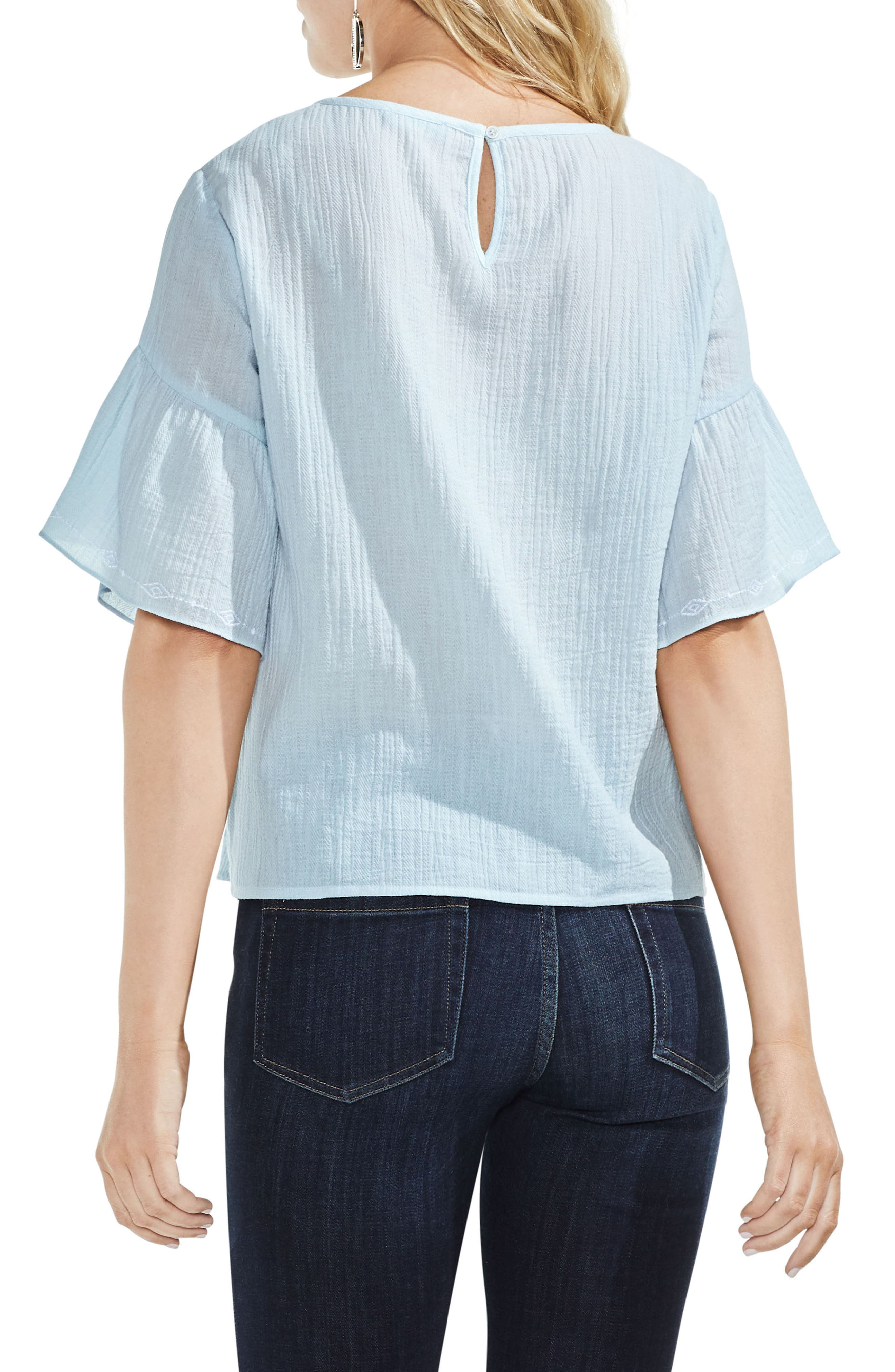 Embroidered Crinkle Cotton Top,                             Alternate thumbnail 4, color,