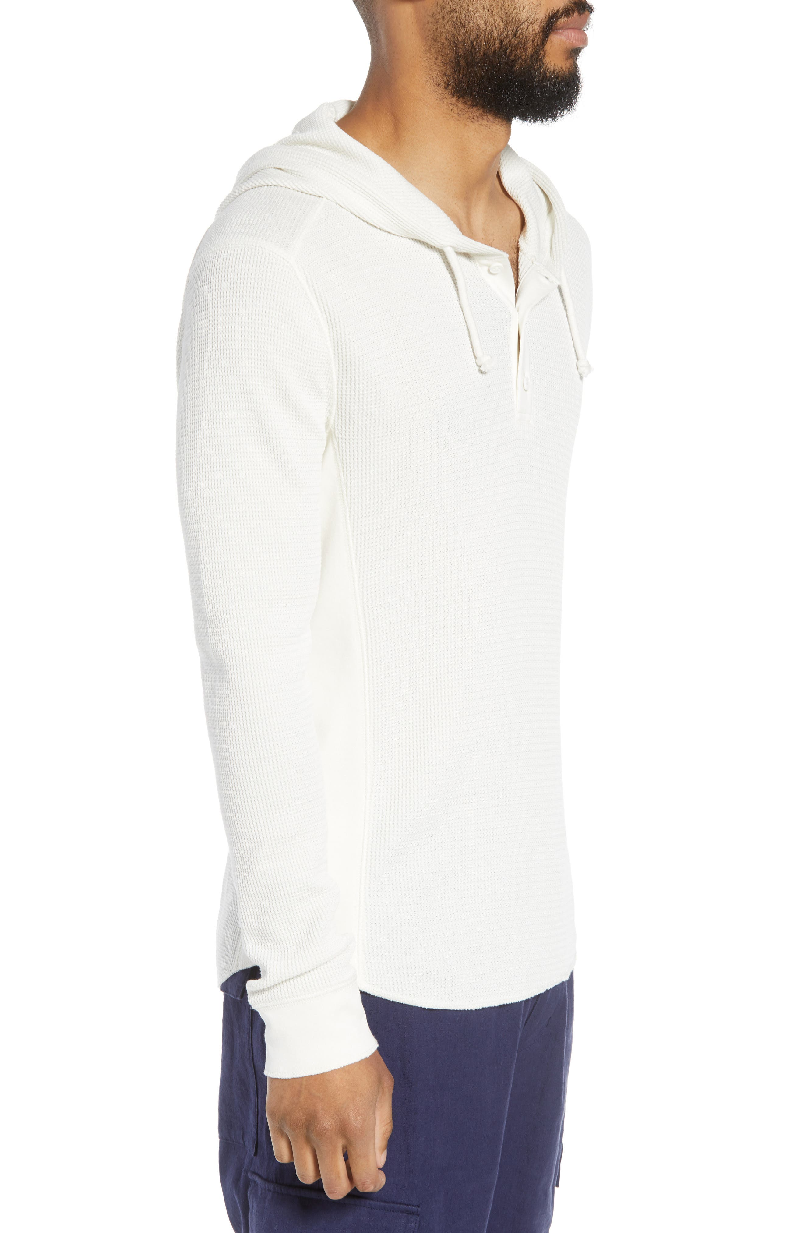 Regular Fit Thermal Knit Pullover Hoodie,                             Alternate thumbnail 3, color,                             110