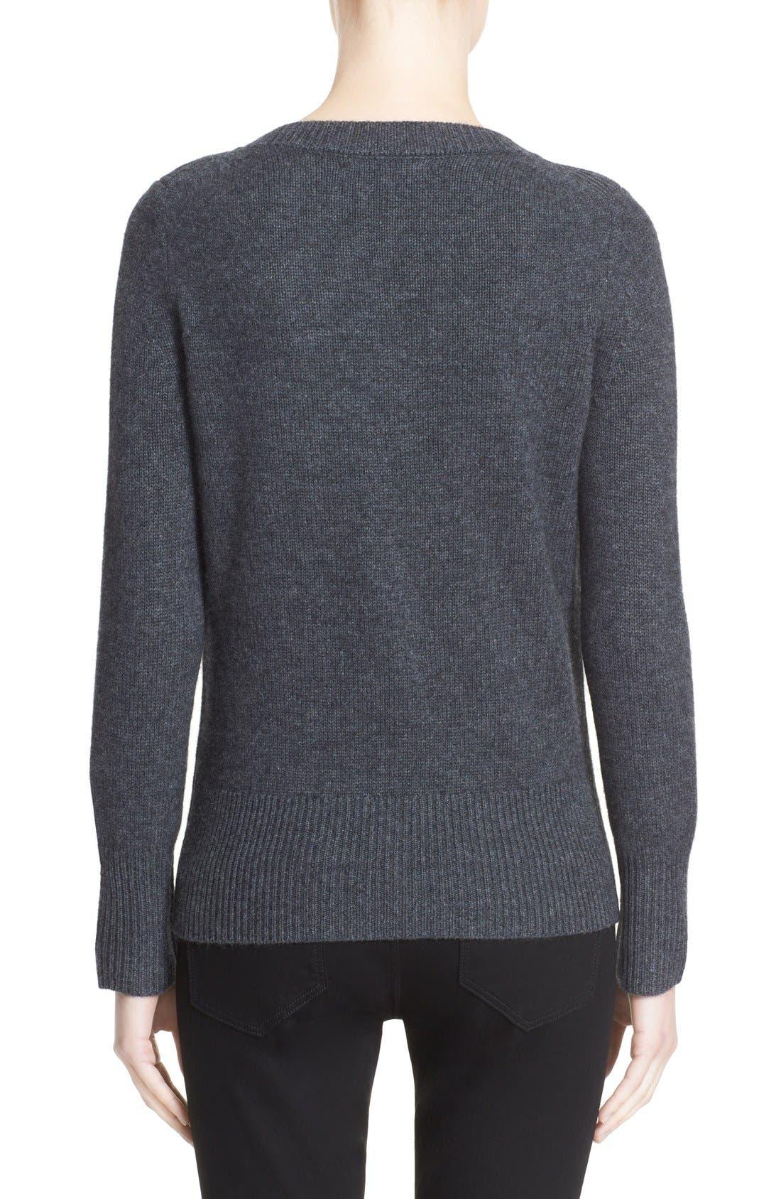 BURBERRY LONDON,                             Embellished Crewneck Sweater,                             Alternate thumbnail 3, color,                             026