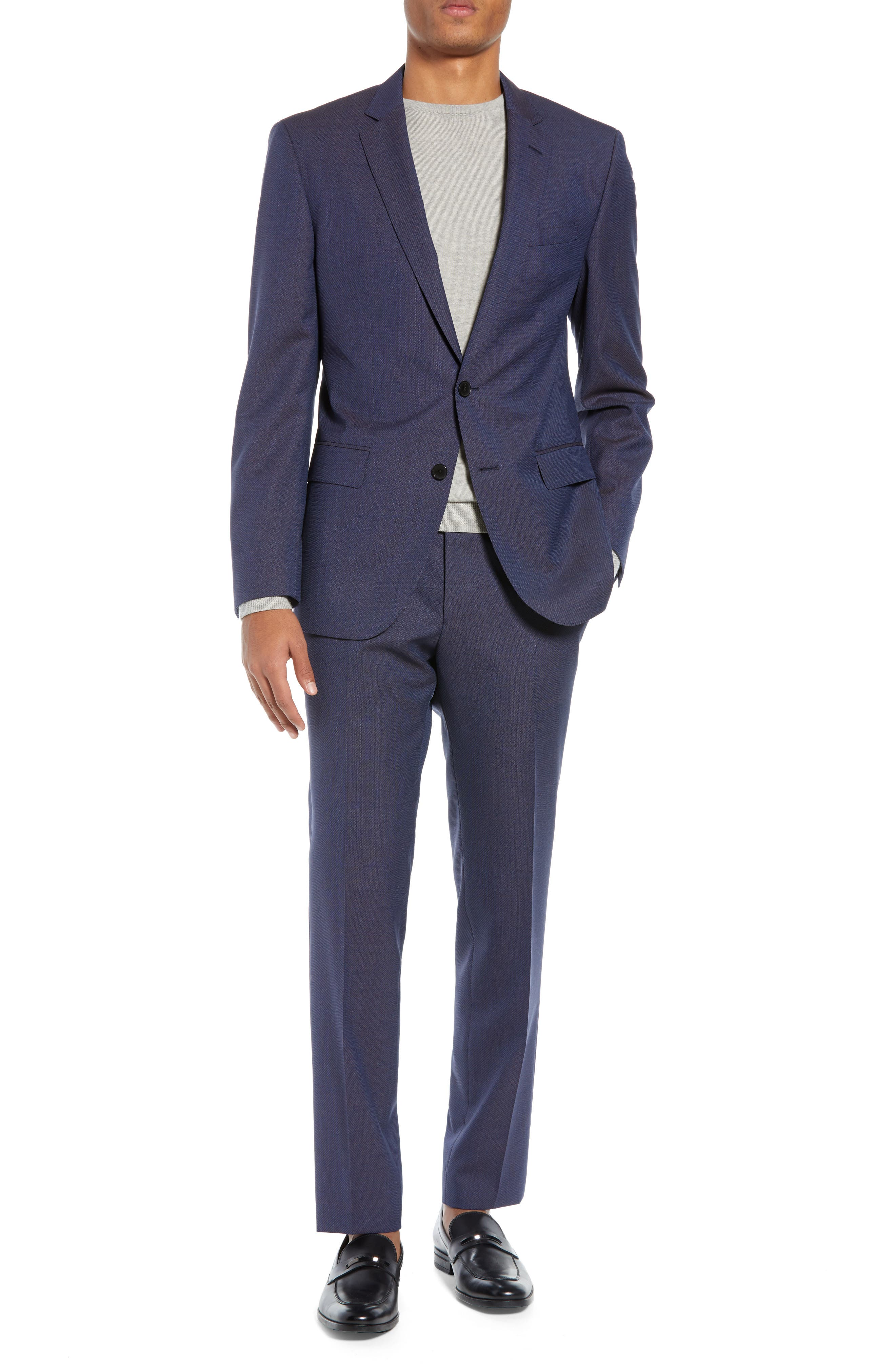 Huge/Genius Trim Fit Solid Wool Suit,                             Main thumbnail 1, color,                             OPEN BLUE