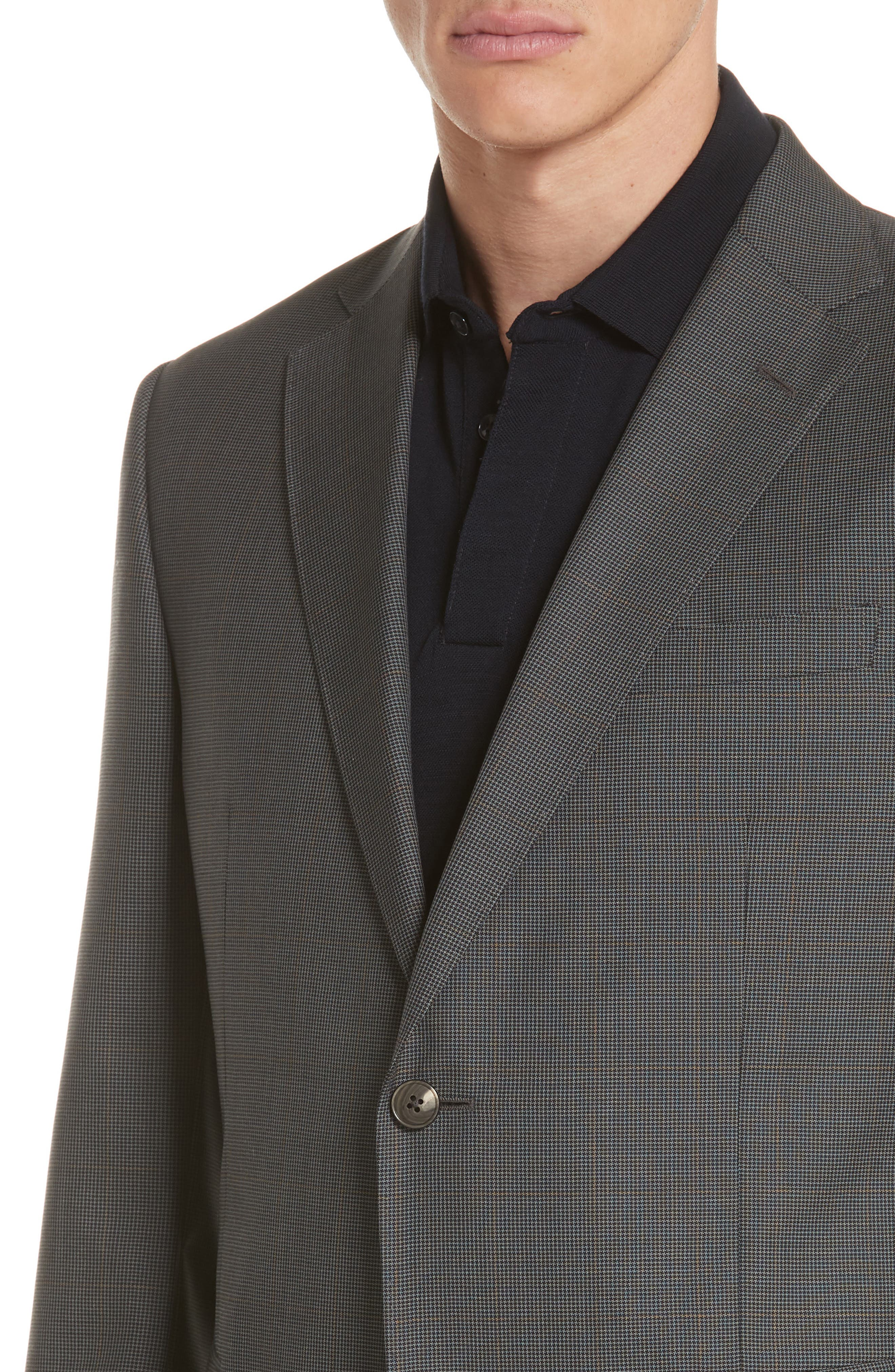 Trim Fit Houndstooth Wool & Silk Suit,                             Alternate thumbnail 4, color,                             026