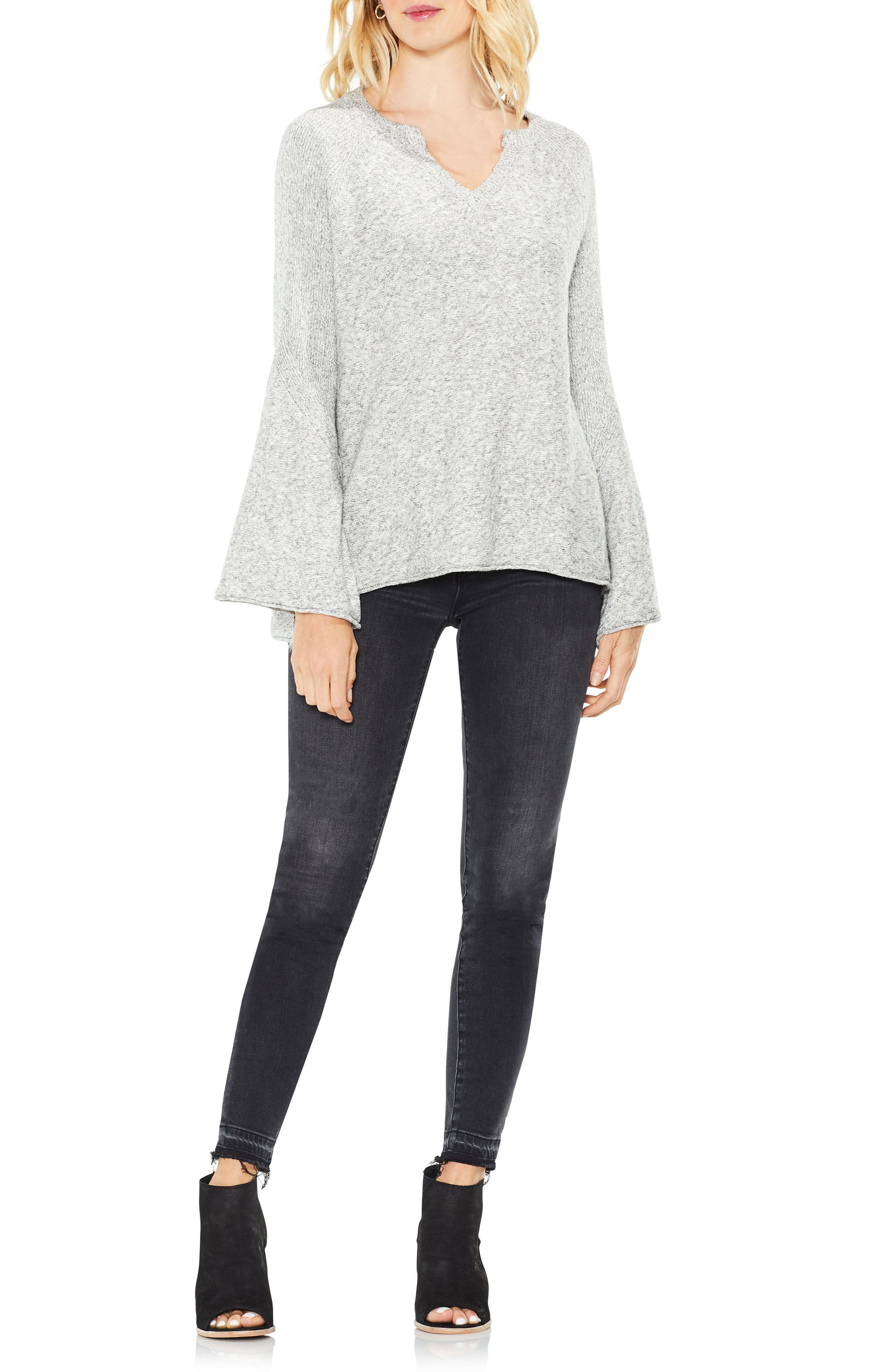 Bell Sleeve Ribbed Sweater,                             Alternate thumbnail 6, color,