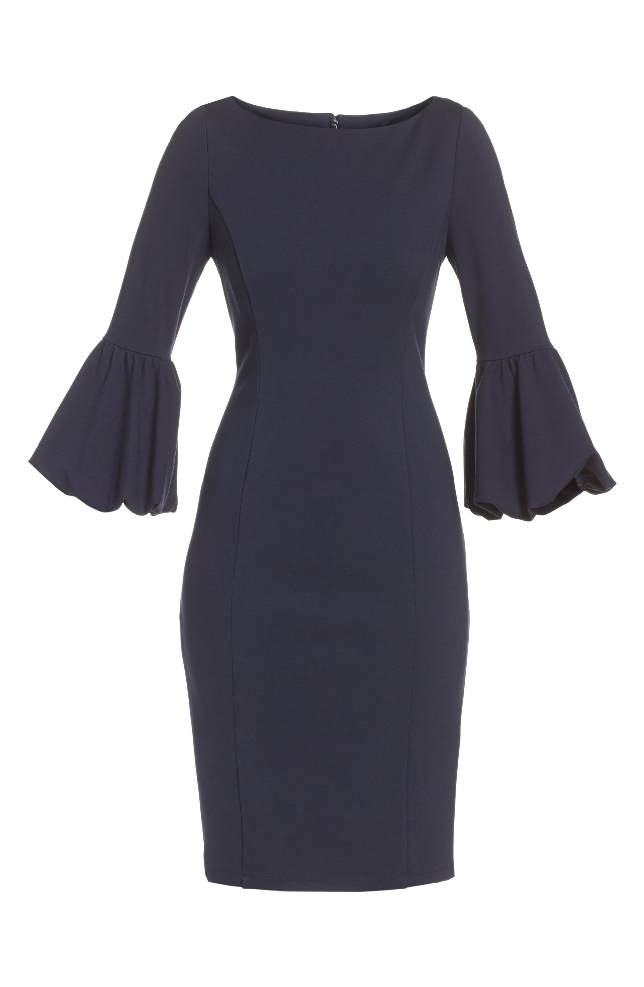 Ruffle Sleeve Sheath Dress,                             Alternate thumbnail 7, color,                             NAVY