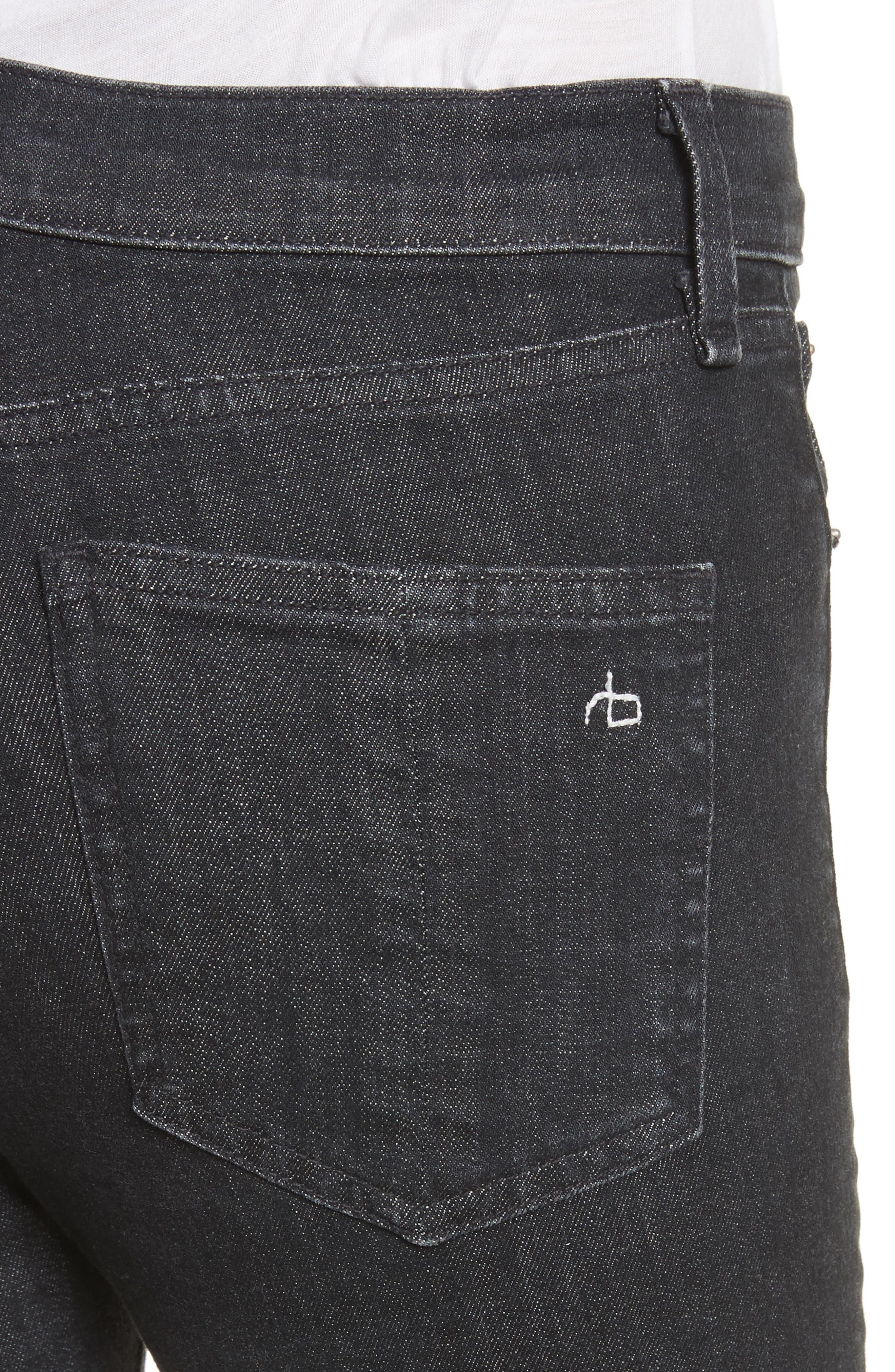 High Waist Ankle Skinny Jeans,                             Alternate thumbnail 4, color,                             002
