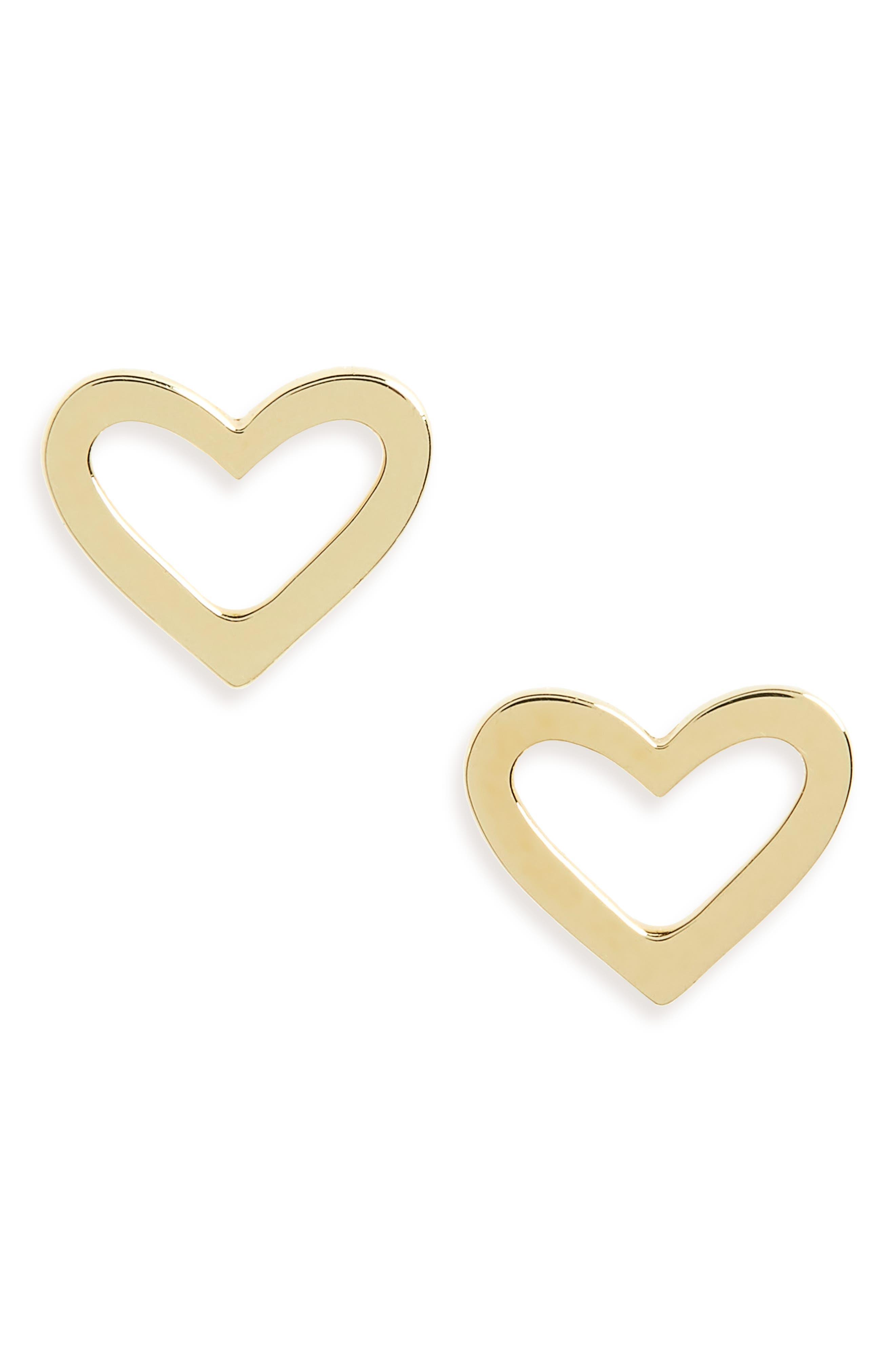 Open Heart Earrings,                             Main thumbnail 1, color,                             YELLOW GOLD