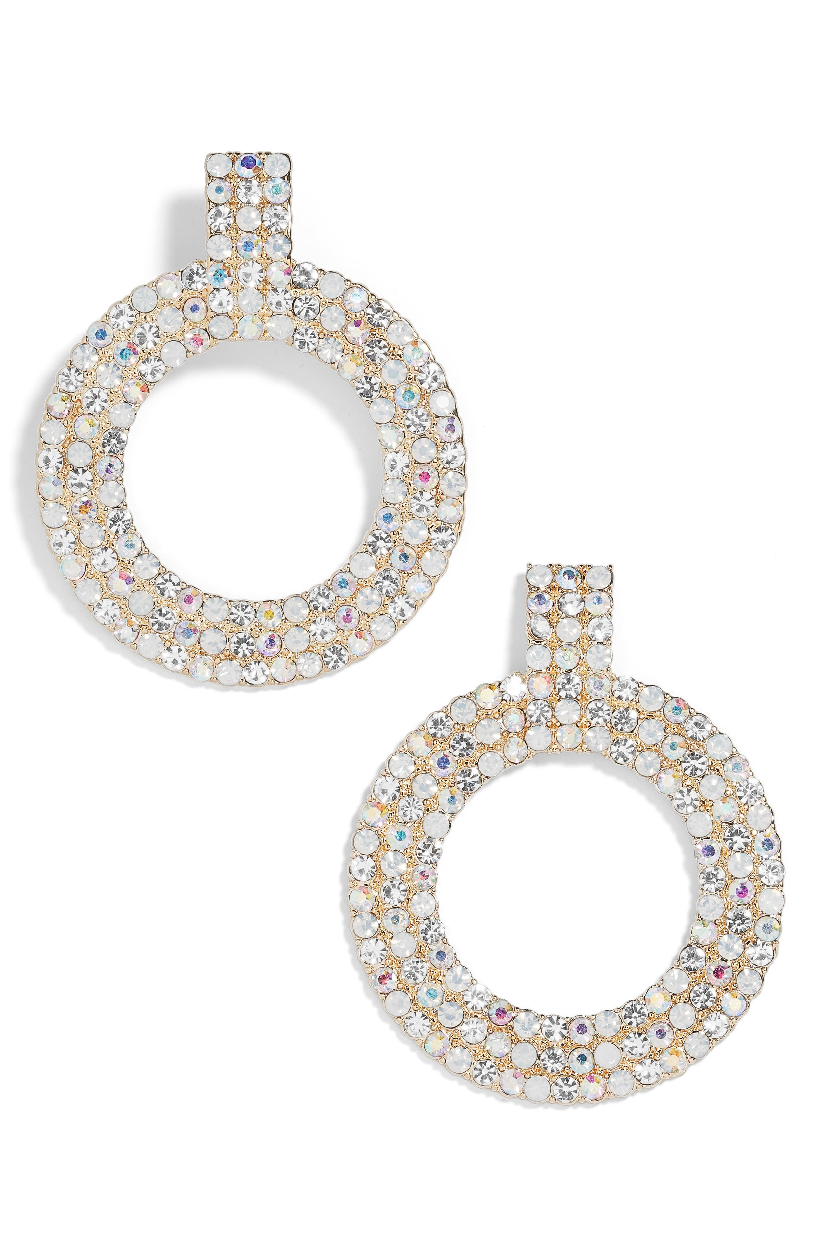 Adonia Pavé Hoop Earrings,                             Main thumbnail 1, color,                             CLEAR/ OPAL