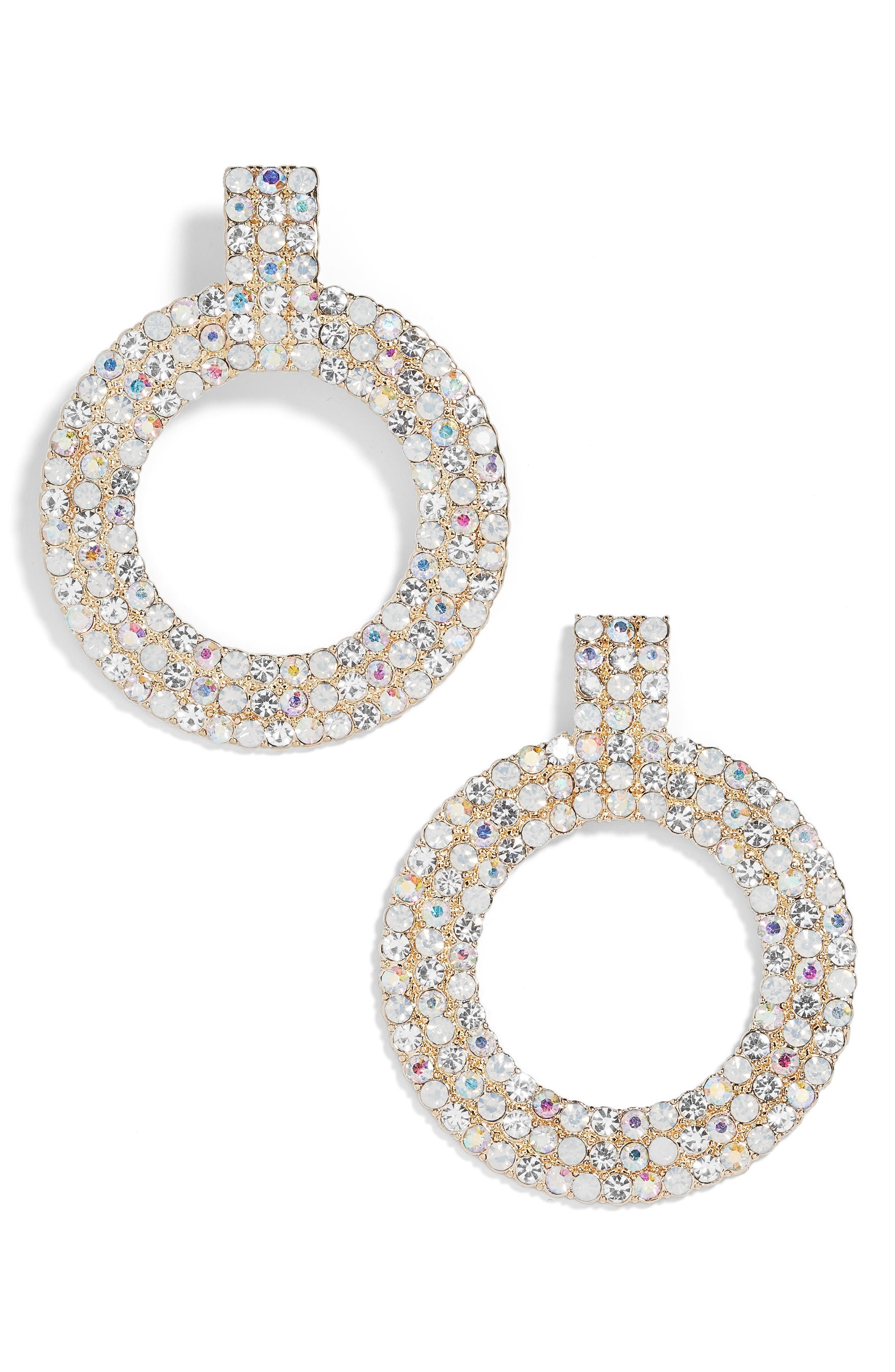 Adonia Pavé Hoop Earrings,                         Main,                         color, CLEAR/ OPAL