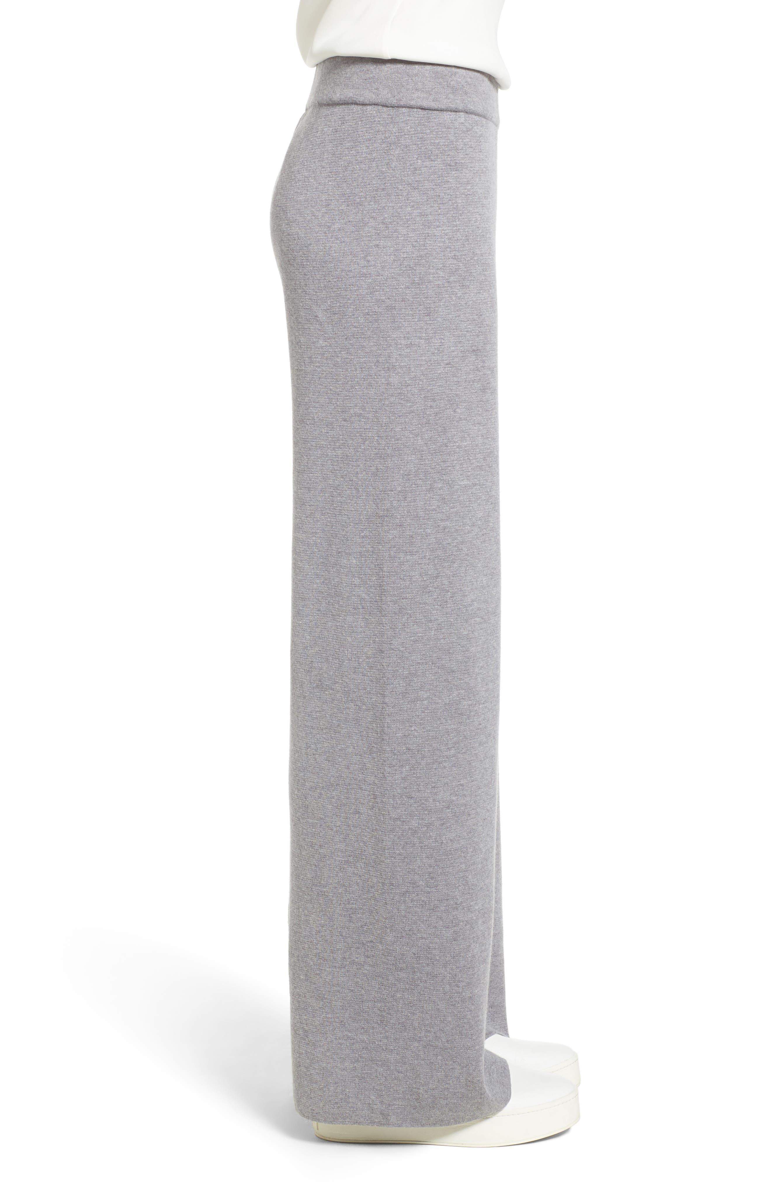 Heathered Knit Pants,                             Alternate thumbnail 3, color,                             WARM GREY