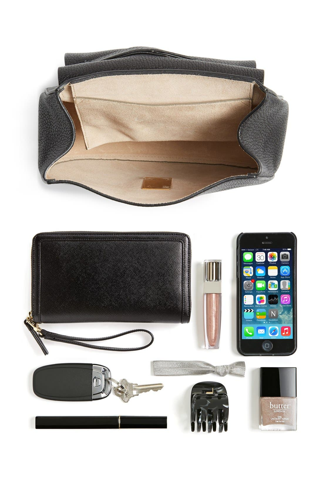 Drew Leather Shoulder Bag,                             Alternate thumbnail 2, color,                             BLACK GOLD HRDWRE