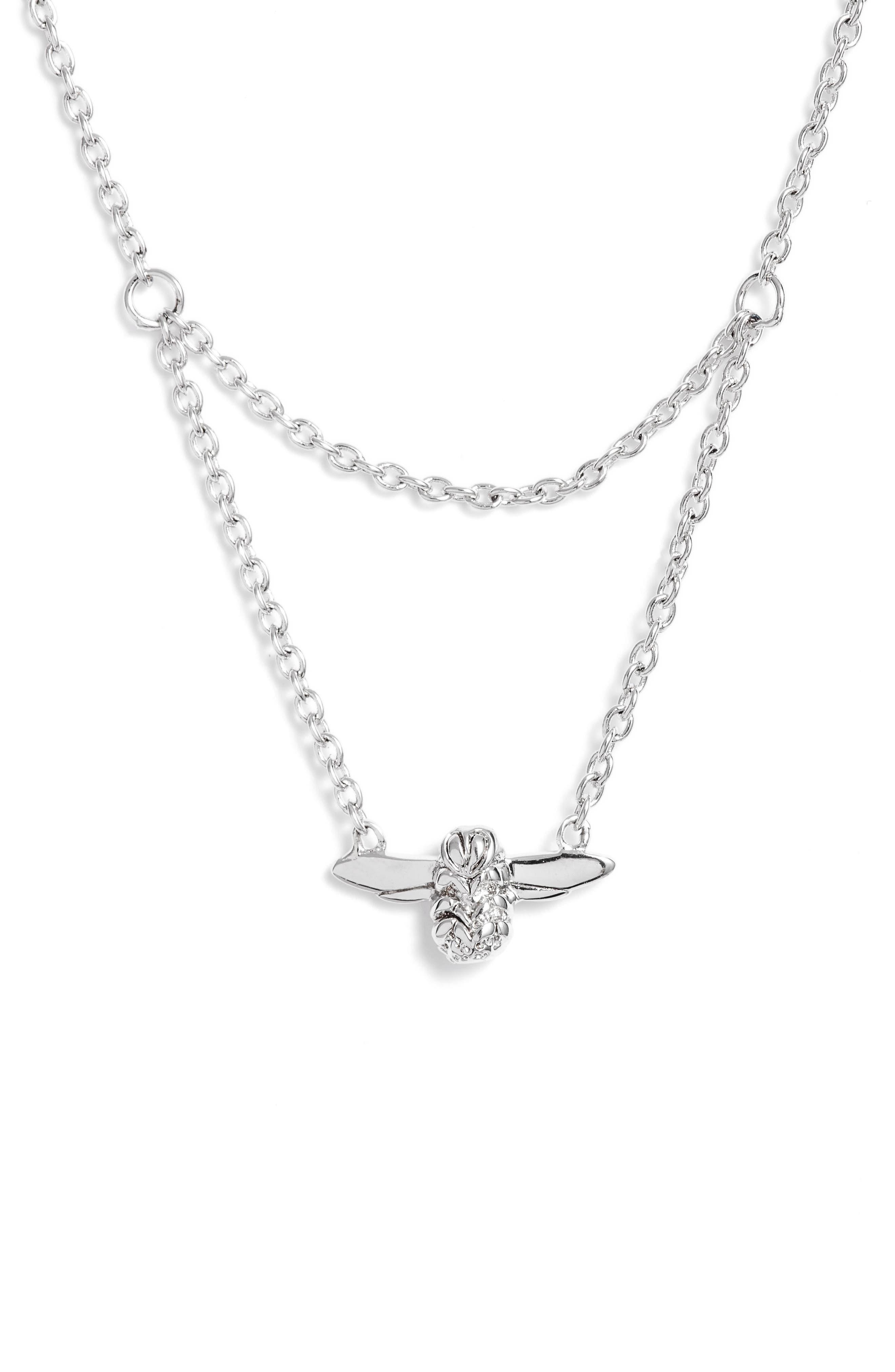 Queen Bee Pendant Necklace,                         Main,                         color, SILVER