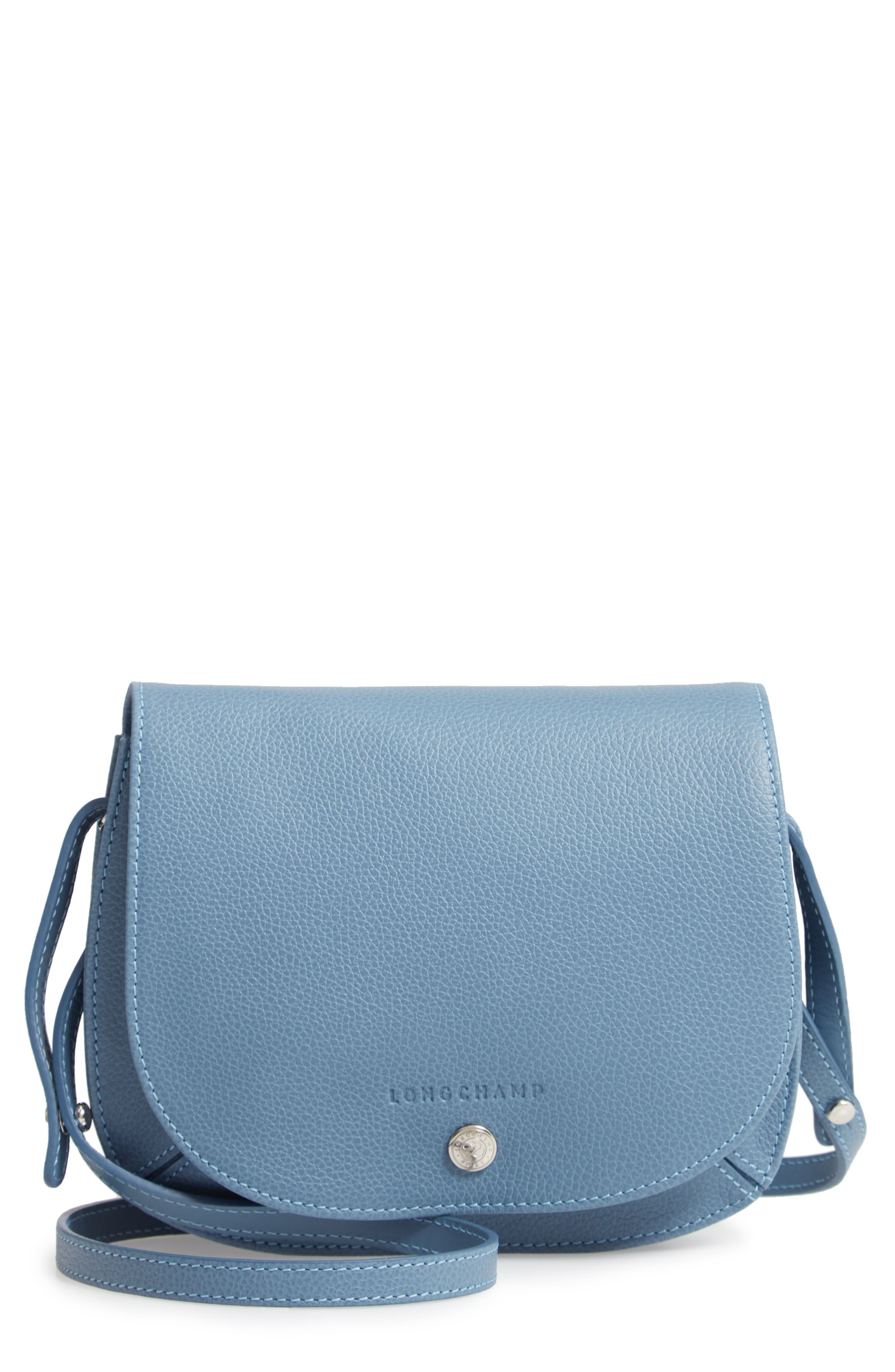 71326adc658f Longchamp Small Le Foulonne Leather Crossbody Bag - Blue In Nordic