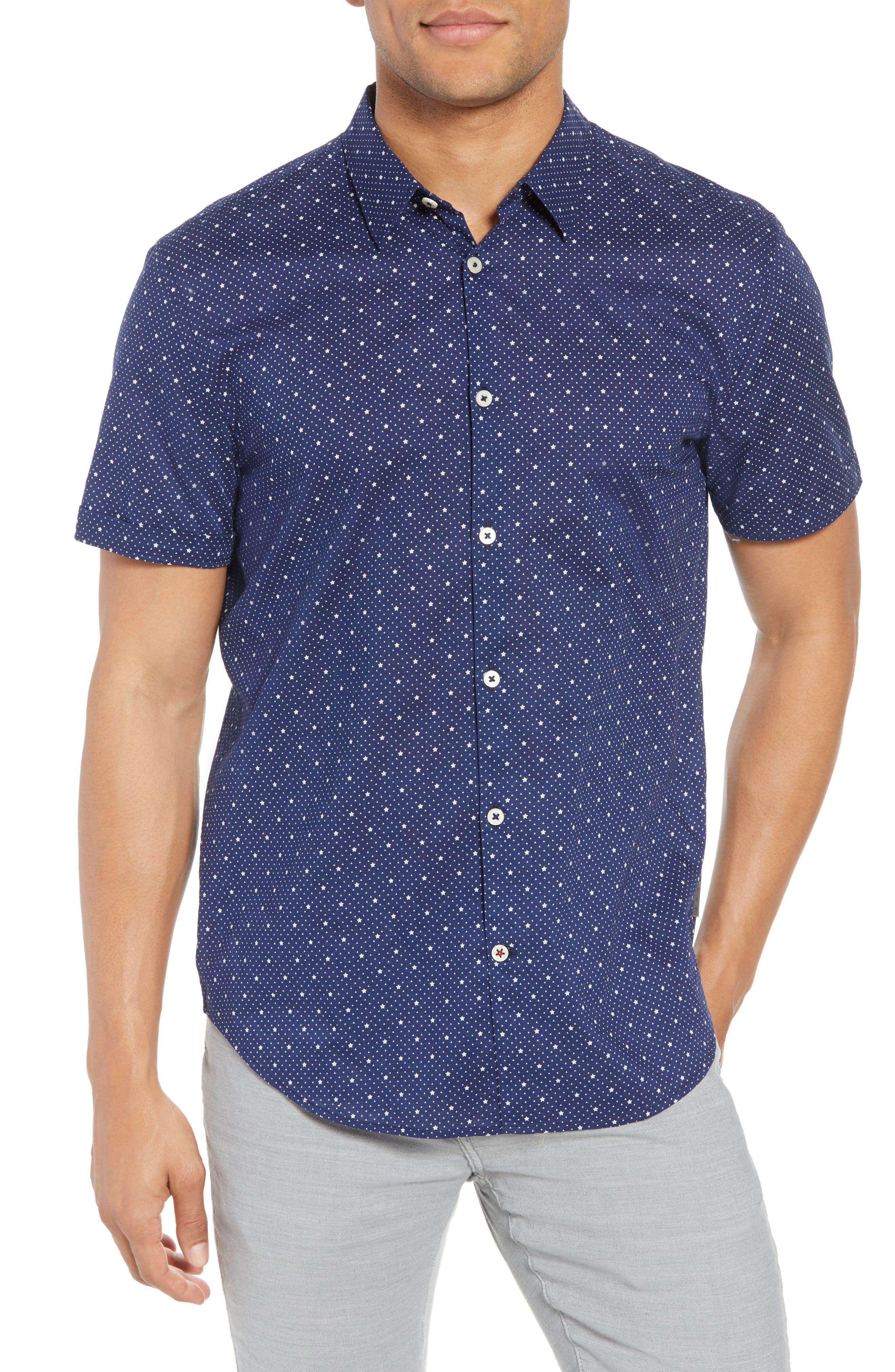 Star Print Woven Shirt,                         Main,                         color, 418