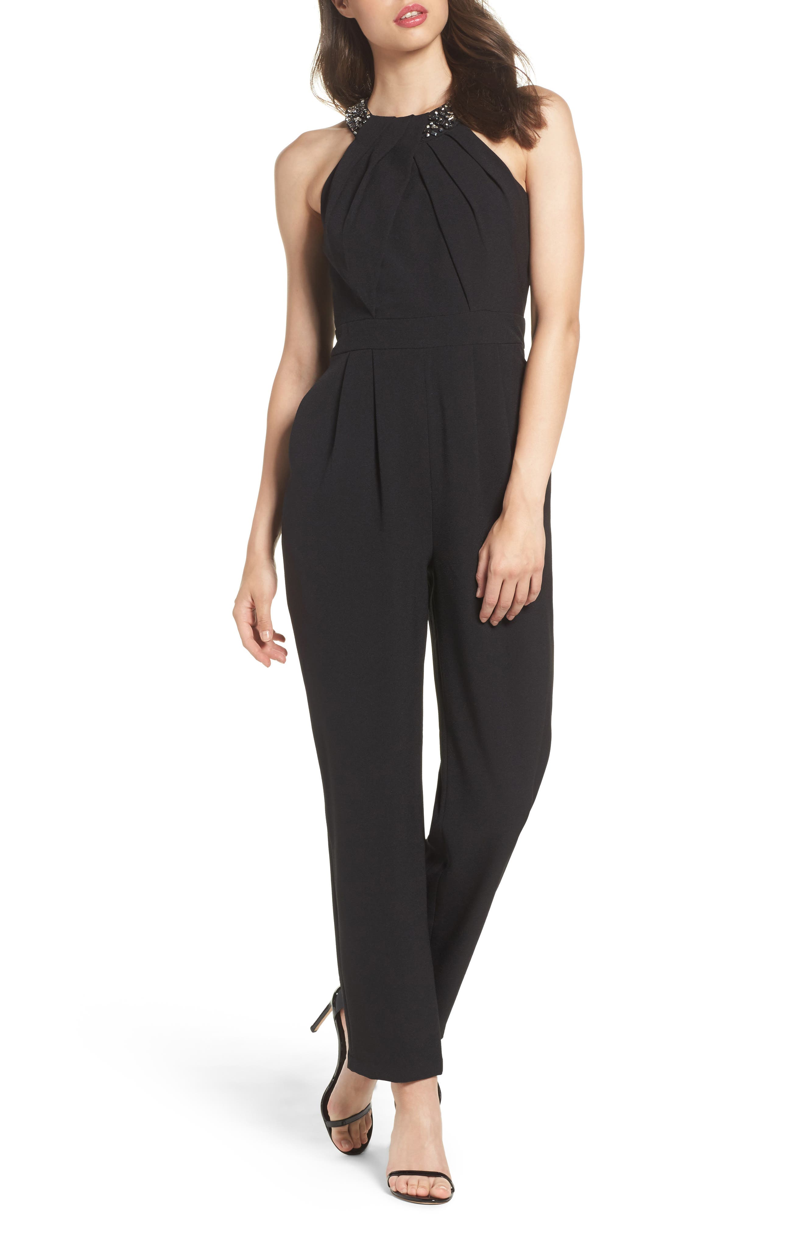 Crystal Pleated Neck Jumpsuit,                             Main thumbnail 1, color,                             001