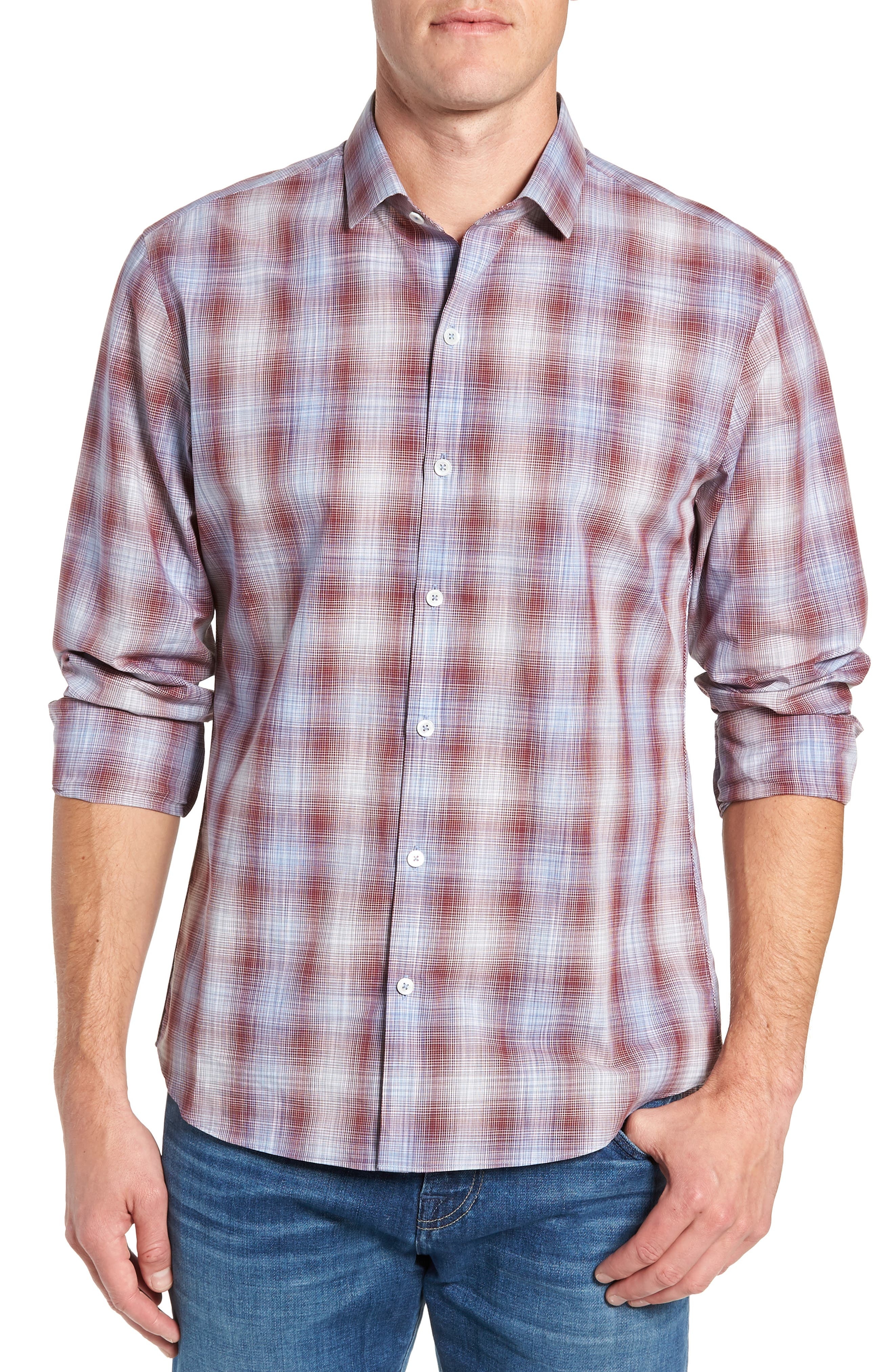 Cepeda Regular Fit Plaid Sport Shirt,                         Main,                         color, RUBY