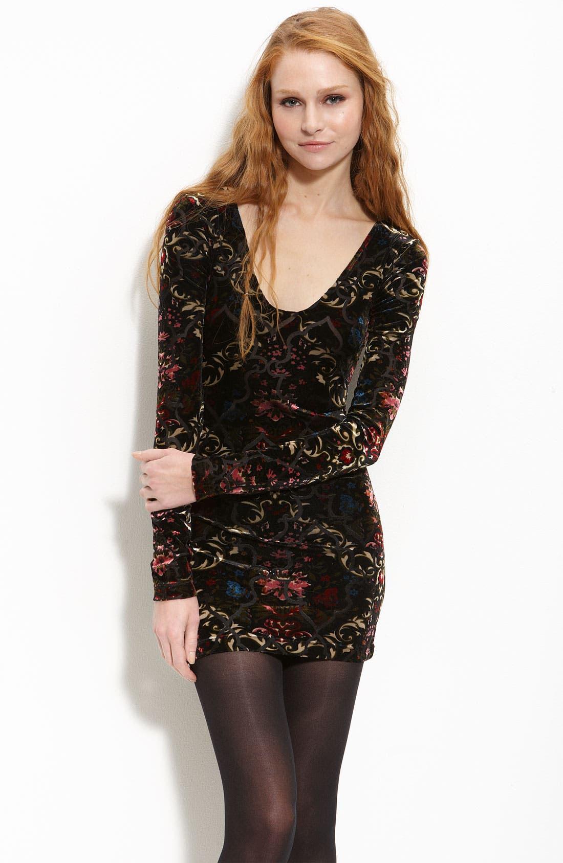 Burnout Velvet Dress,                             Main thumbnail 1, color,                             001